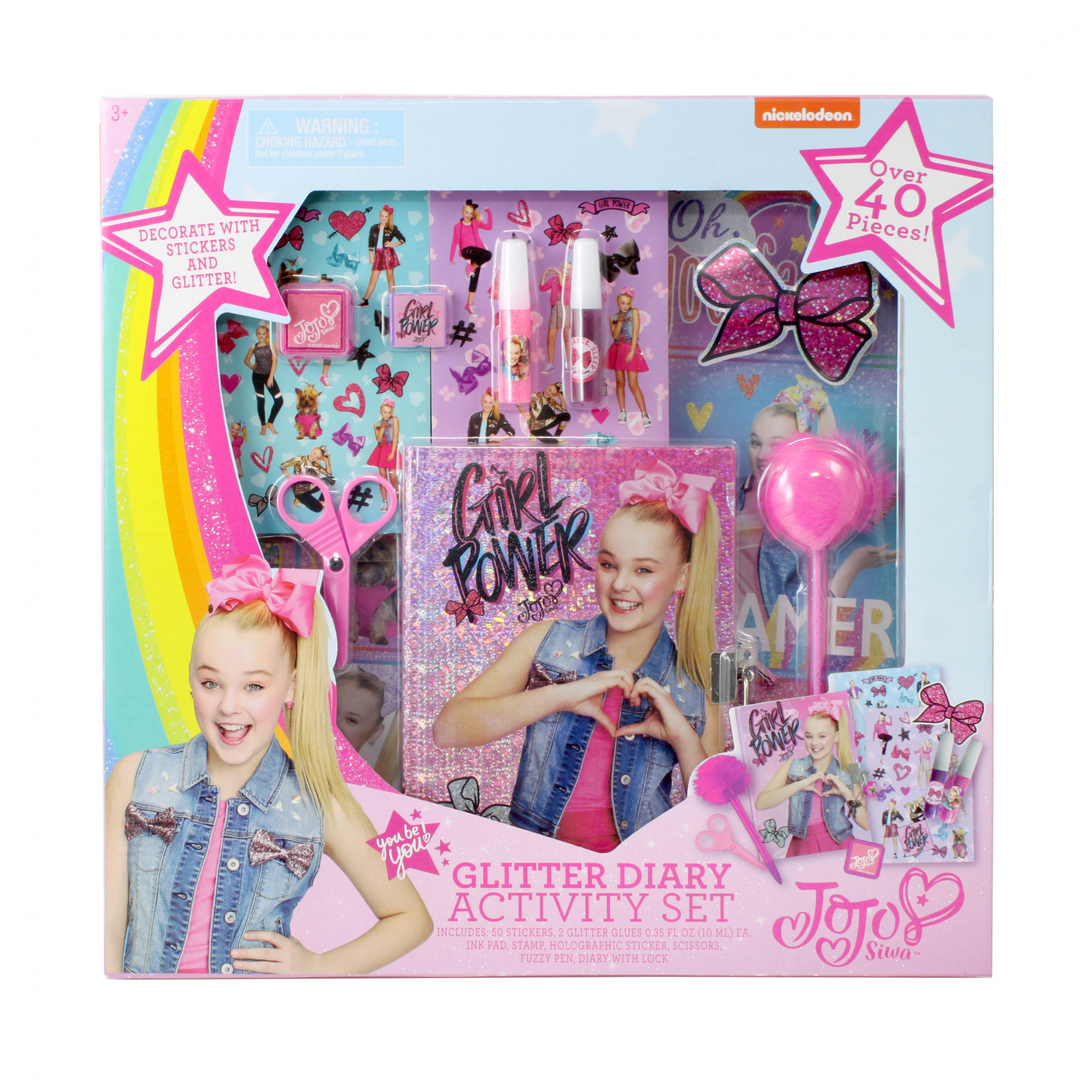 Nickelodeon JoJo Siwa Pink Glitter Diary Activity Stationery