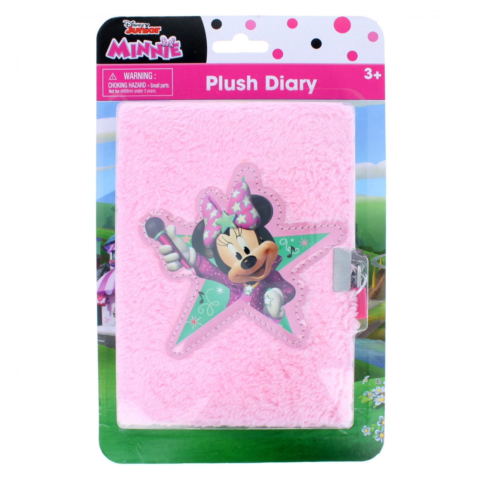 Disney Minnie Mouse Plush Furry Writing Diary Journal Keys