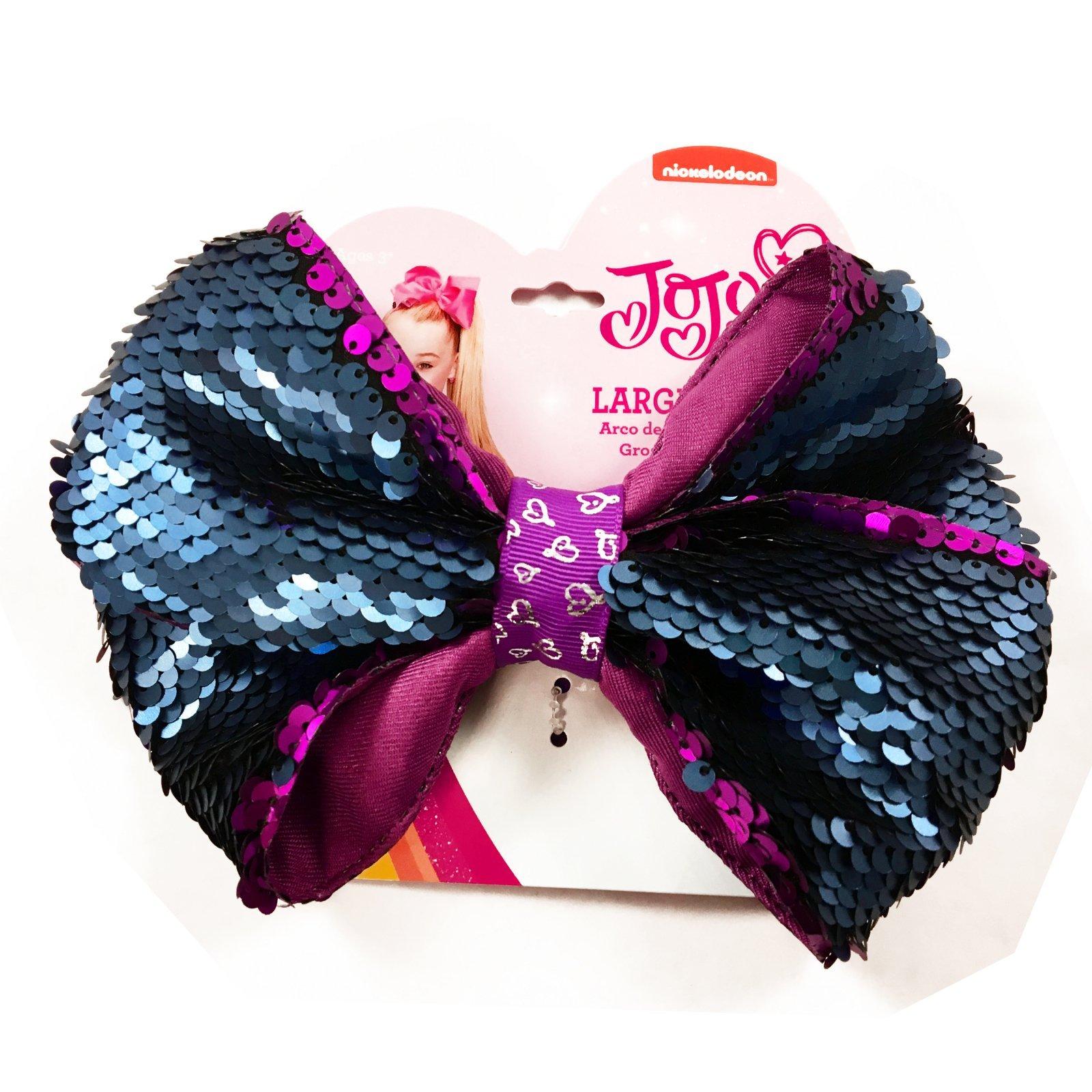 Nickelodeon JoJo Siwa Girls Large Ponytail Hair Tie Bow Reversible Sequin Purple