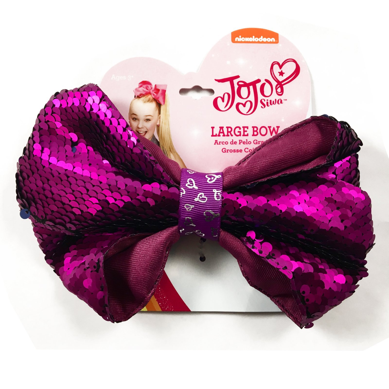 JoJo Siwa Girls Large Hair Bow - Reversible Purple Sequins