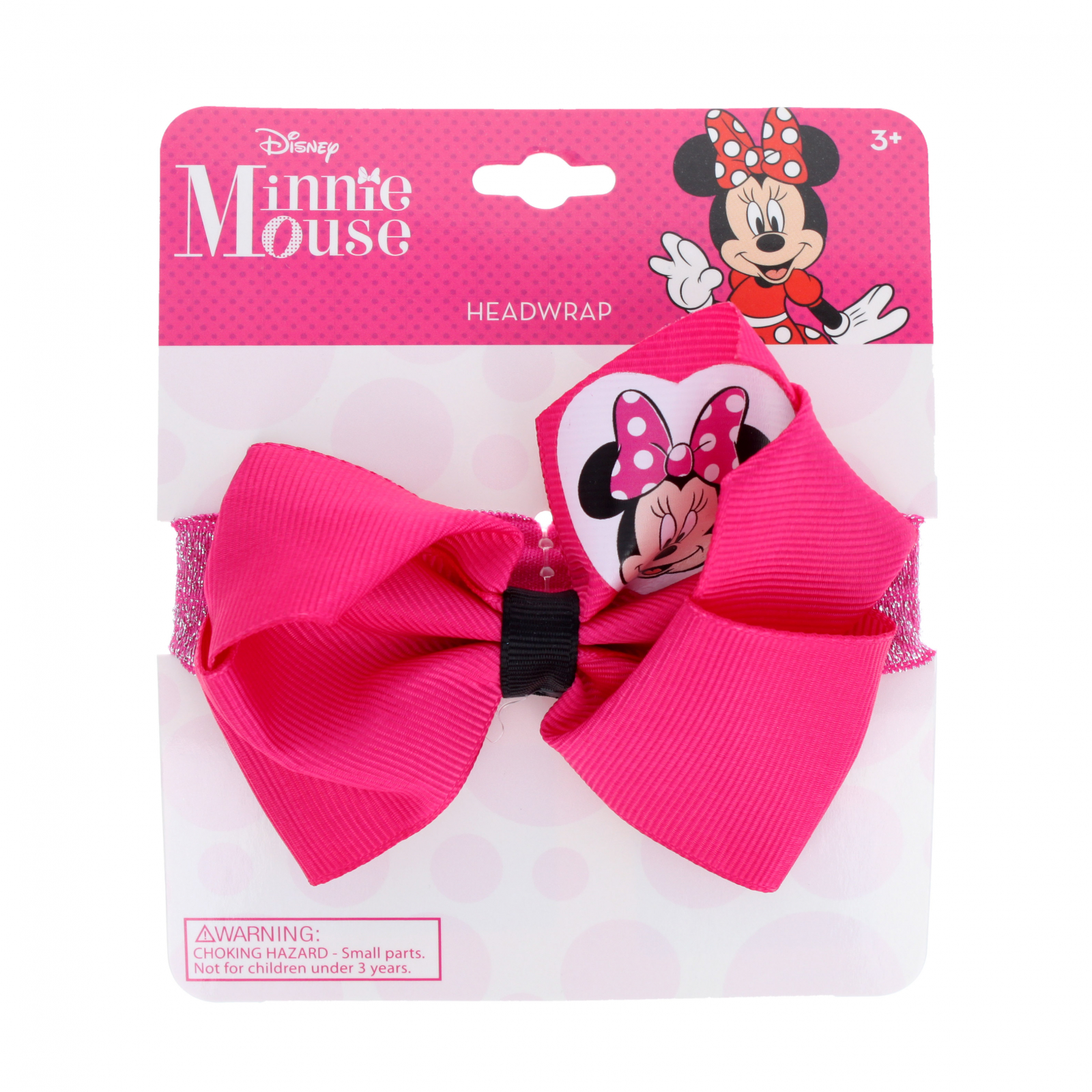 Minnie Mouse Pink Glitter Headwrap Hair Bow for Girls