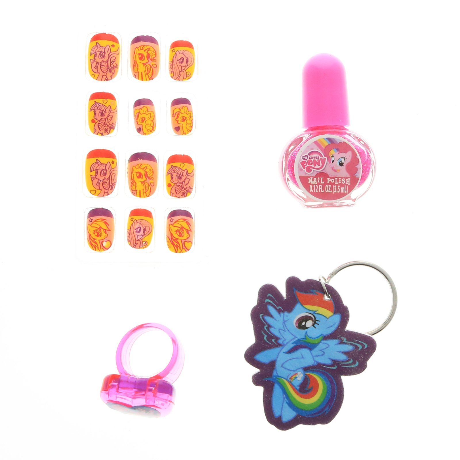 My Little Pony Girls Press On Nails Set Key Chain Nail File Polish and Ring