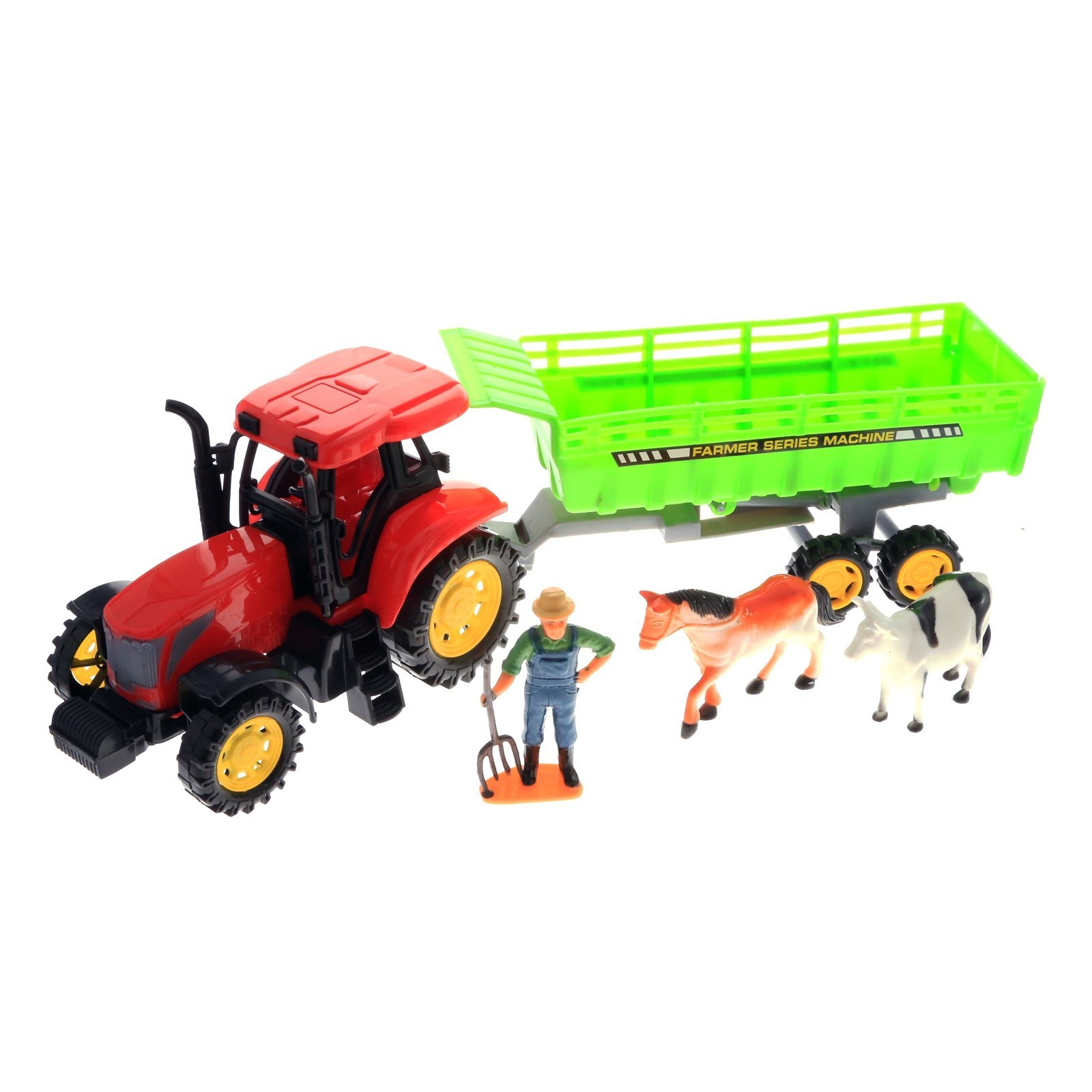 KidPlay Kids Friction Powered Farm Tractor Play Set Red Tractor Figurines