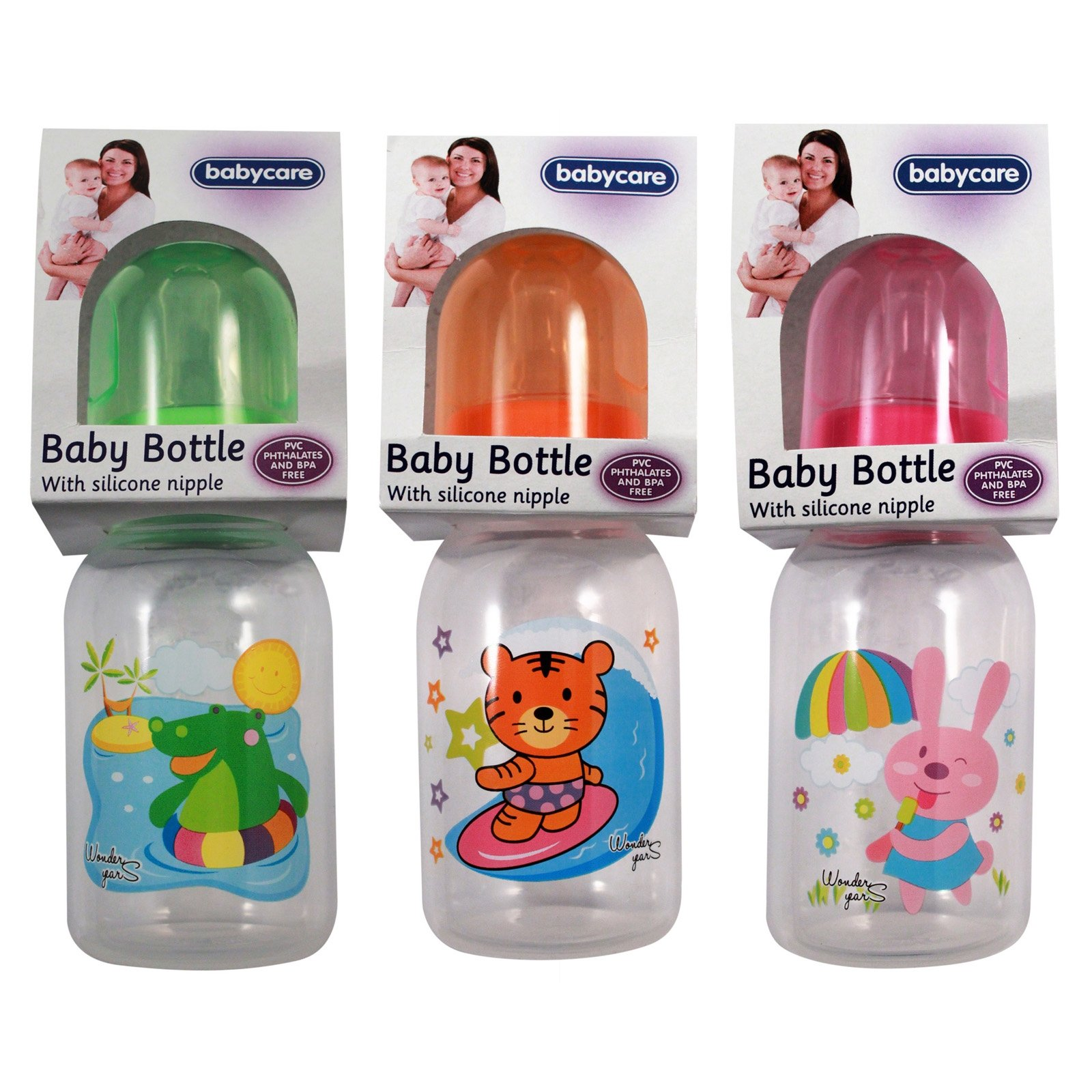 Baby Care Infant Feeding Bottle With Silicone Nipple and Adventure Animal Friends 3 Pack Assorted