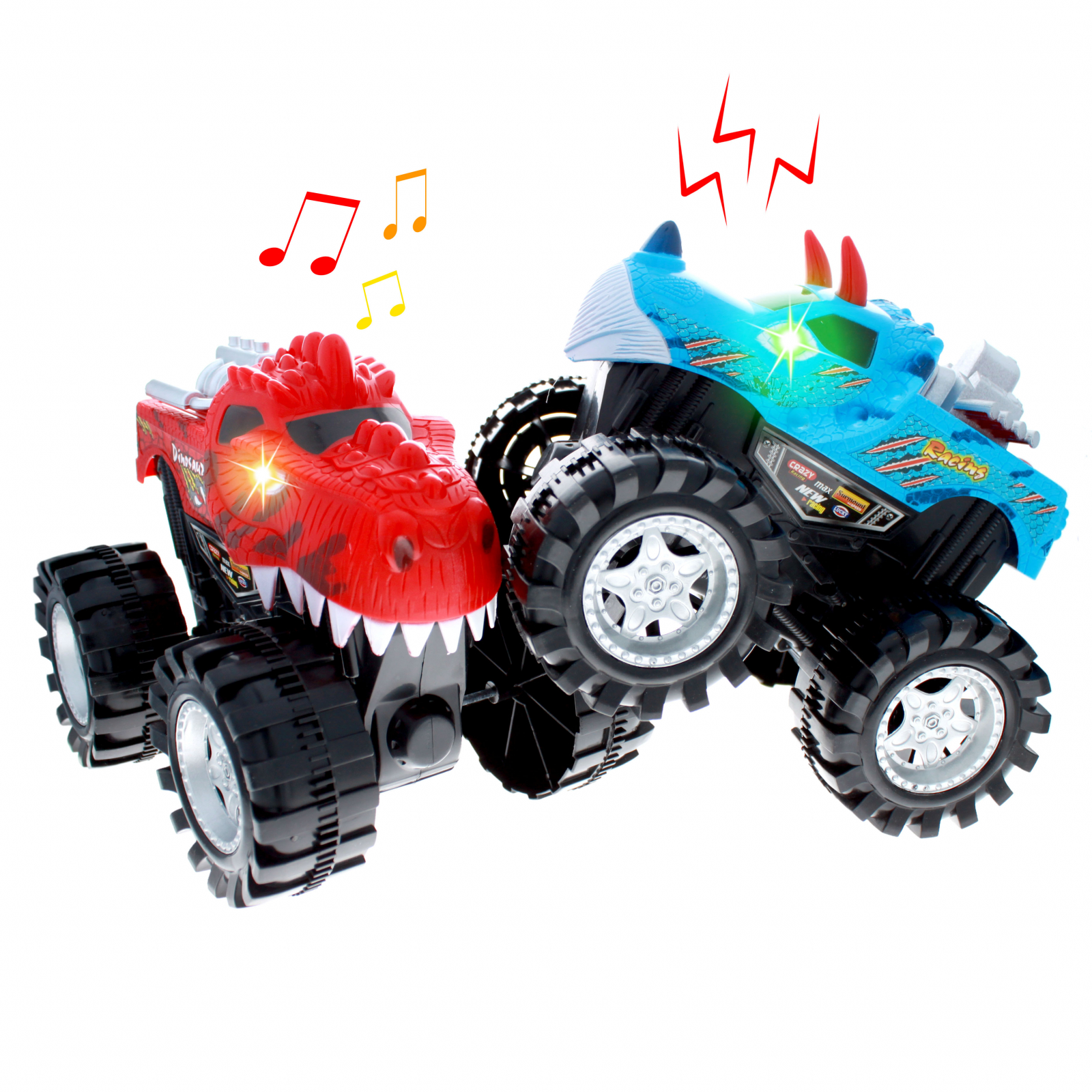TychoTyke Kids Friction Power Monster Truck 2pk Red and Blue