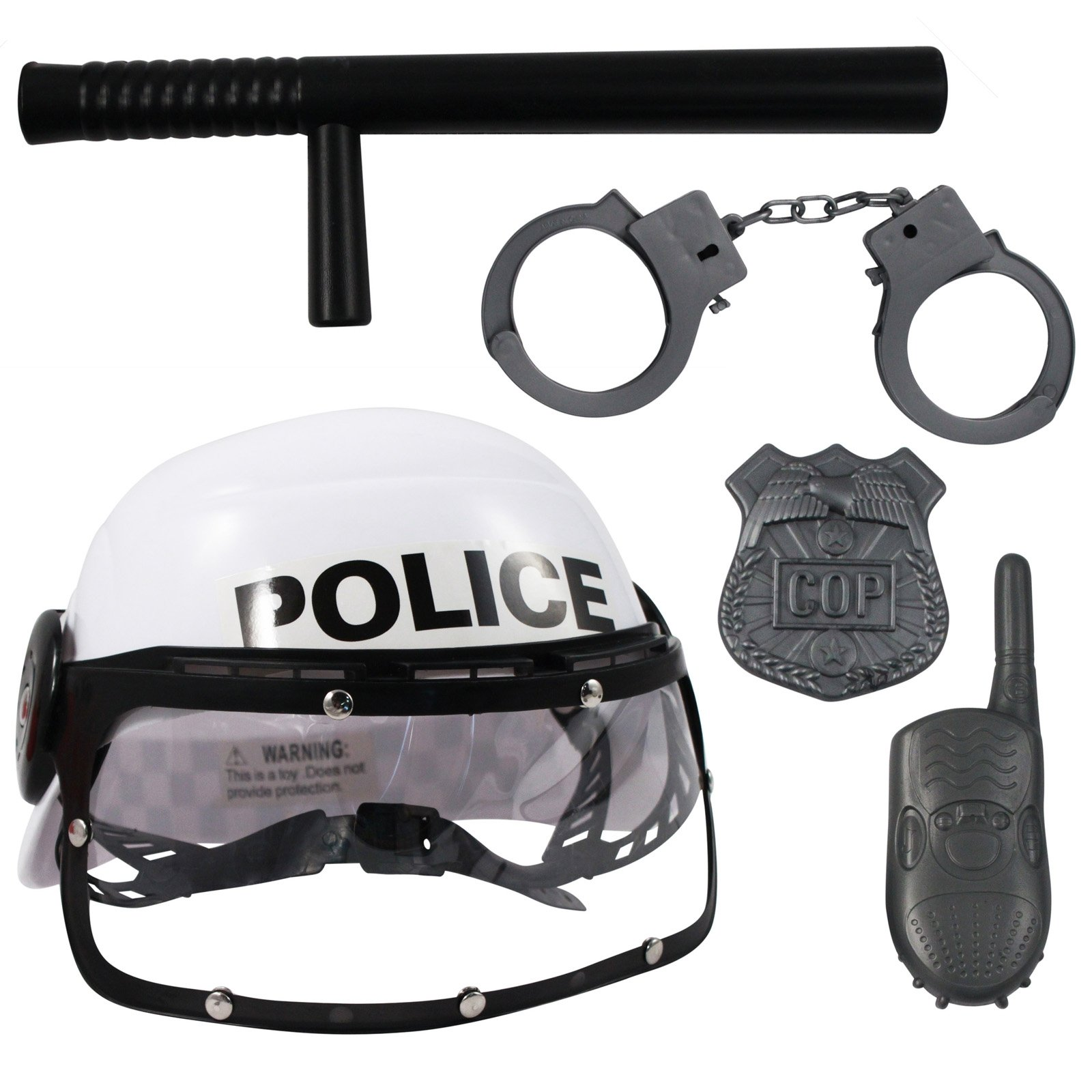 KidFun police Team Pretend Play Helmet Set with Handcuffs Badge and Walkie Talkie