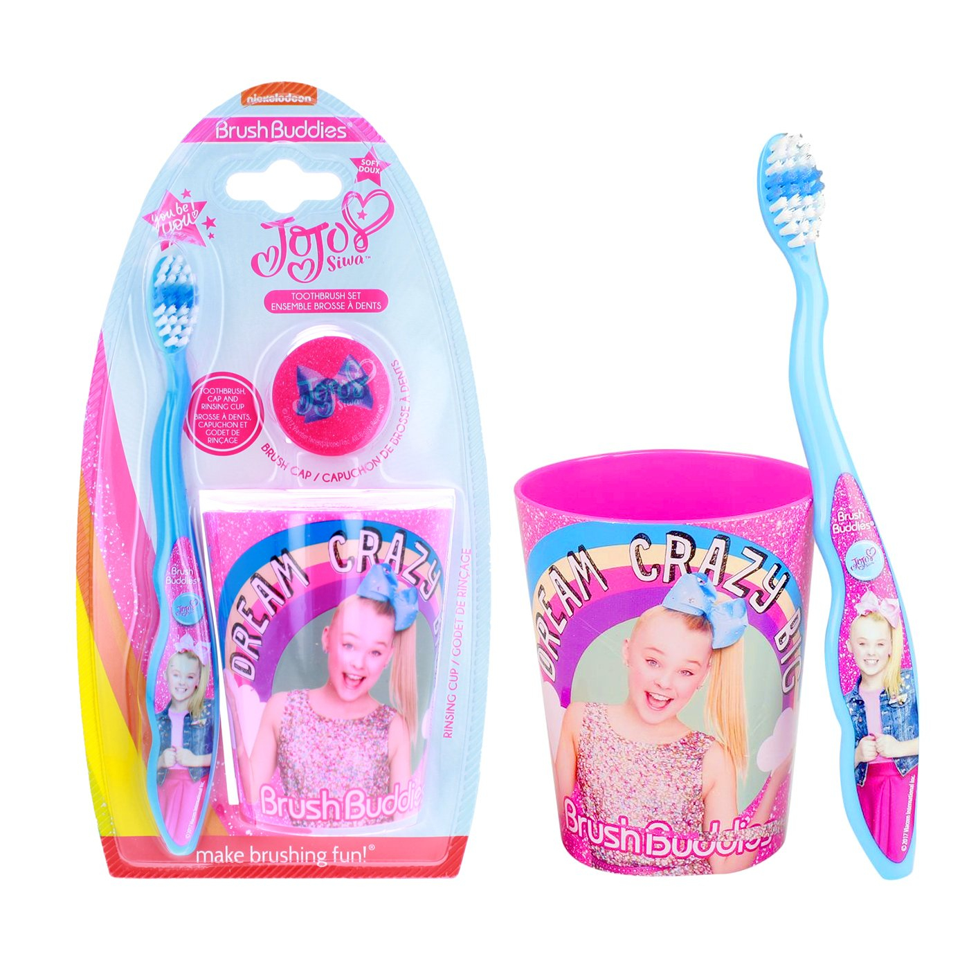 JoJo Siwa BrushBuddies Toothbrush Set With Cap and Rinse Cup