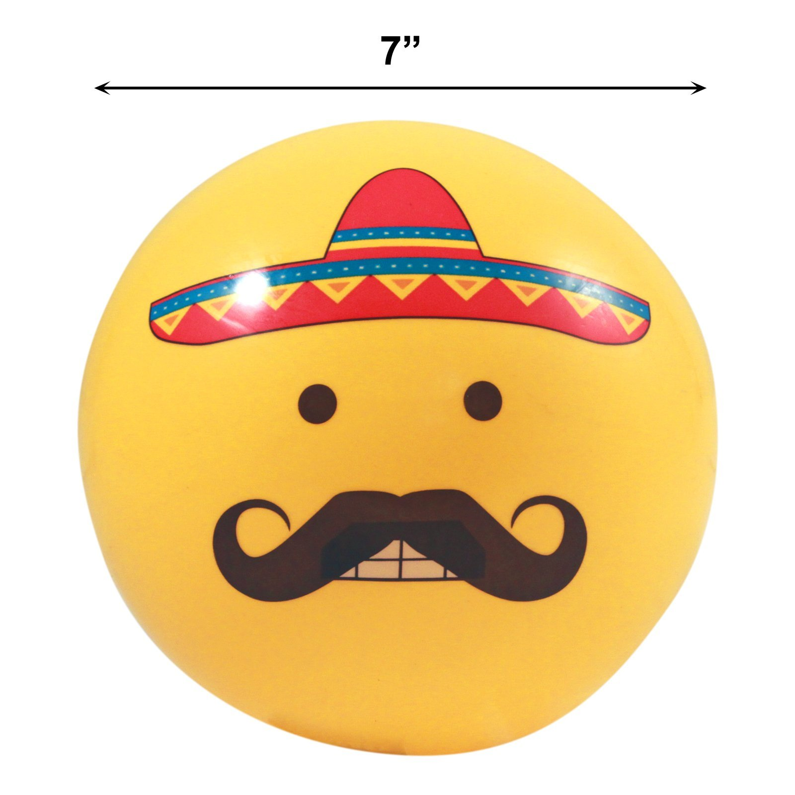 Inflatable Emoji Party Pool Beach Ball for Outdoor Adult and Kid Fun - Mustache