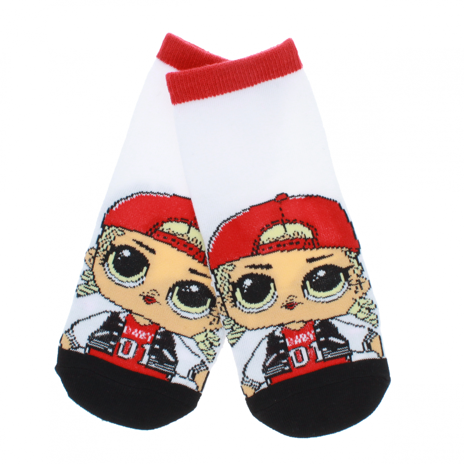 LOL Surprise Girls Ankle Socks Size 6-8.5 - Red