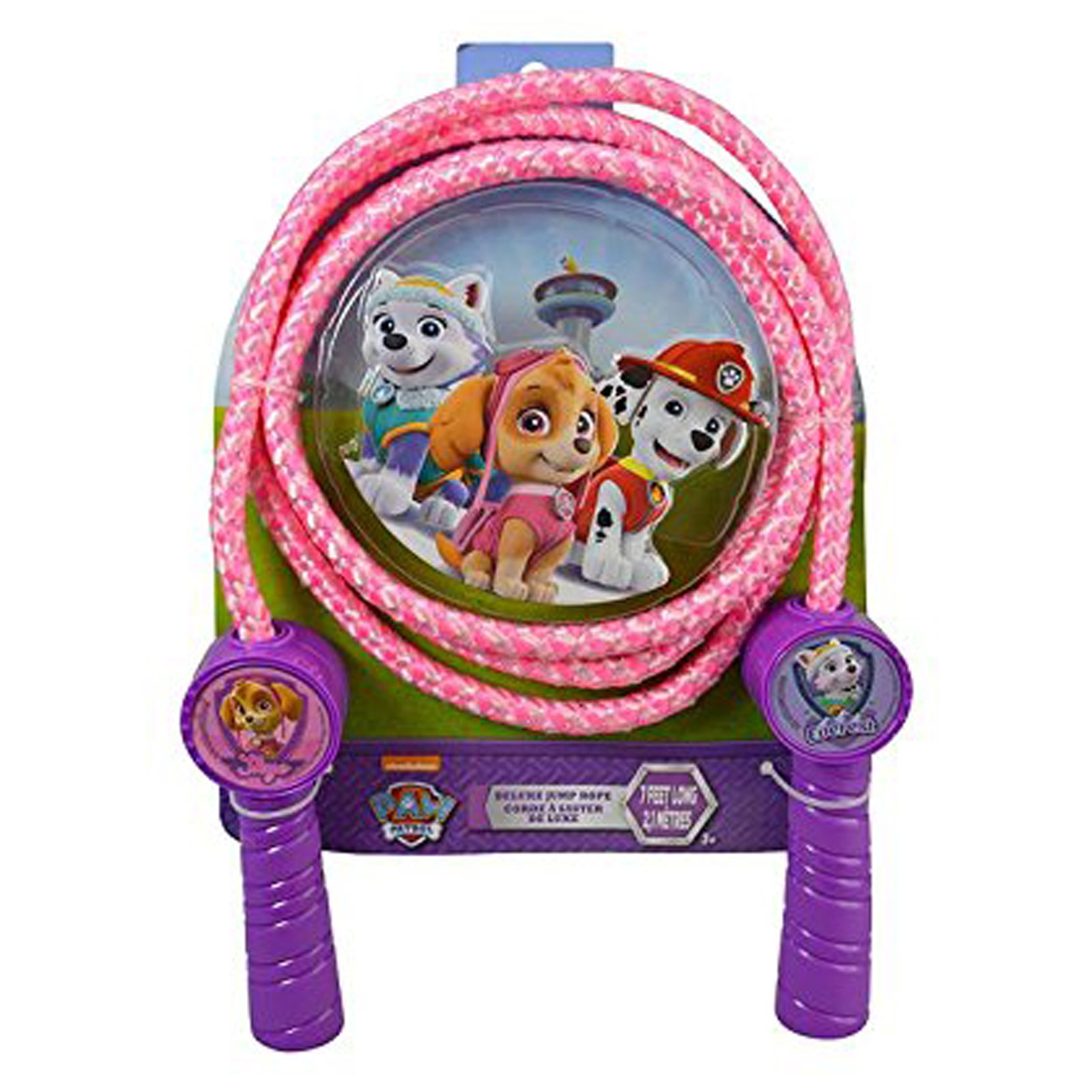 Paw Patrol Deluxe Jump Rope Molded Handles 7 Feet Promotes Exercise - Pink