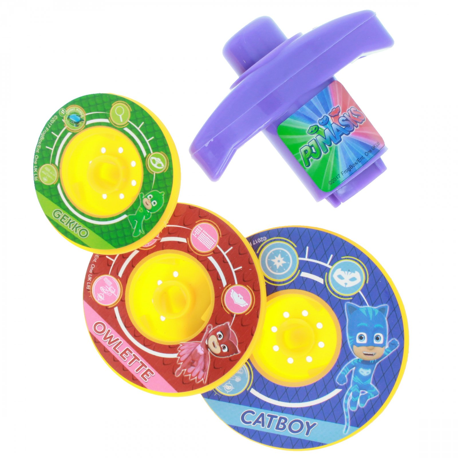 Disney Jr - PJ Masks Spinning Tops - 3 Multi Colored tops and a Launcher