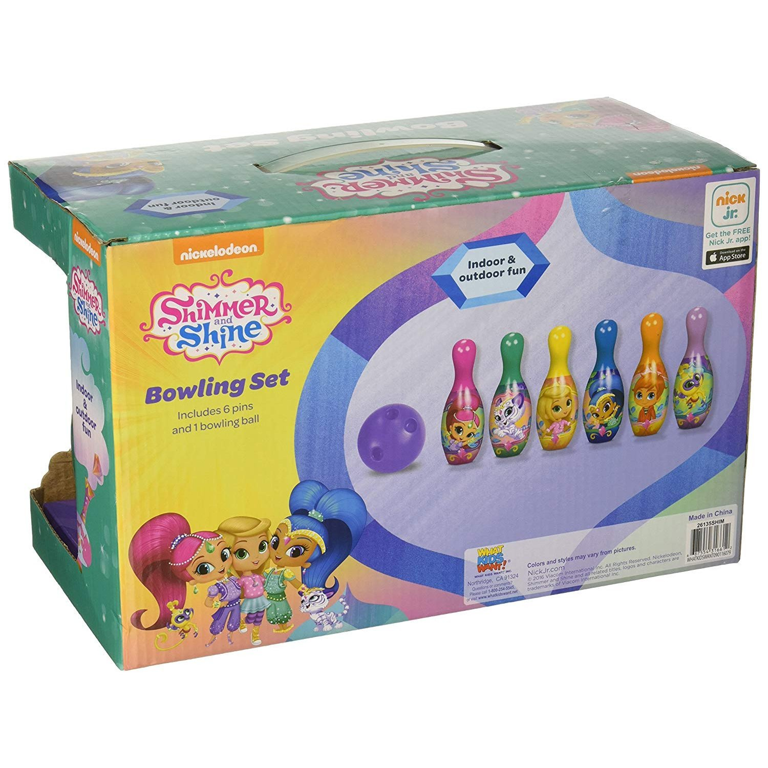 Nickelodeon Shimmer and Shine Bowling Pin Party Indoor Outdoor Family Play Set