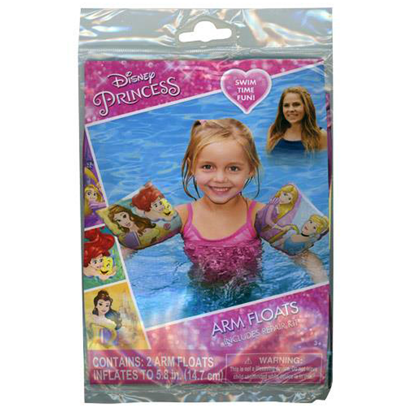 Disney Princess Inflatable Arm Floaties Girls Summer Pool Floats with Repair Kit