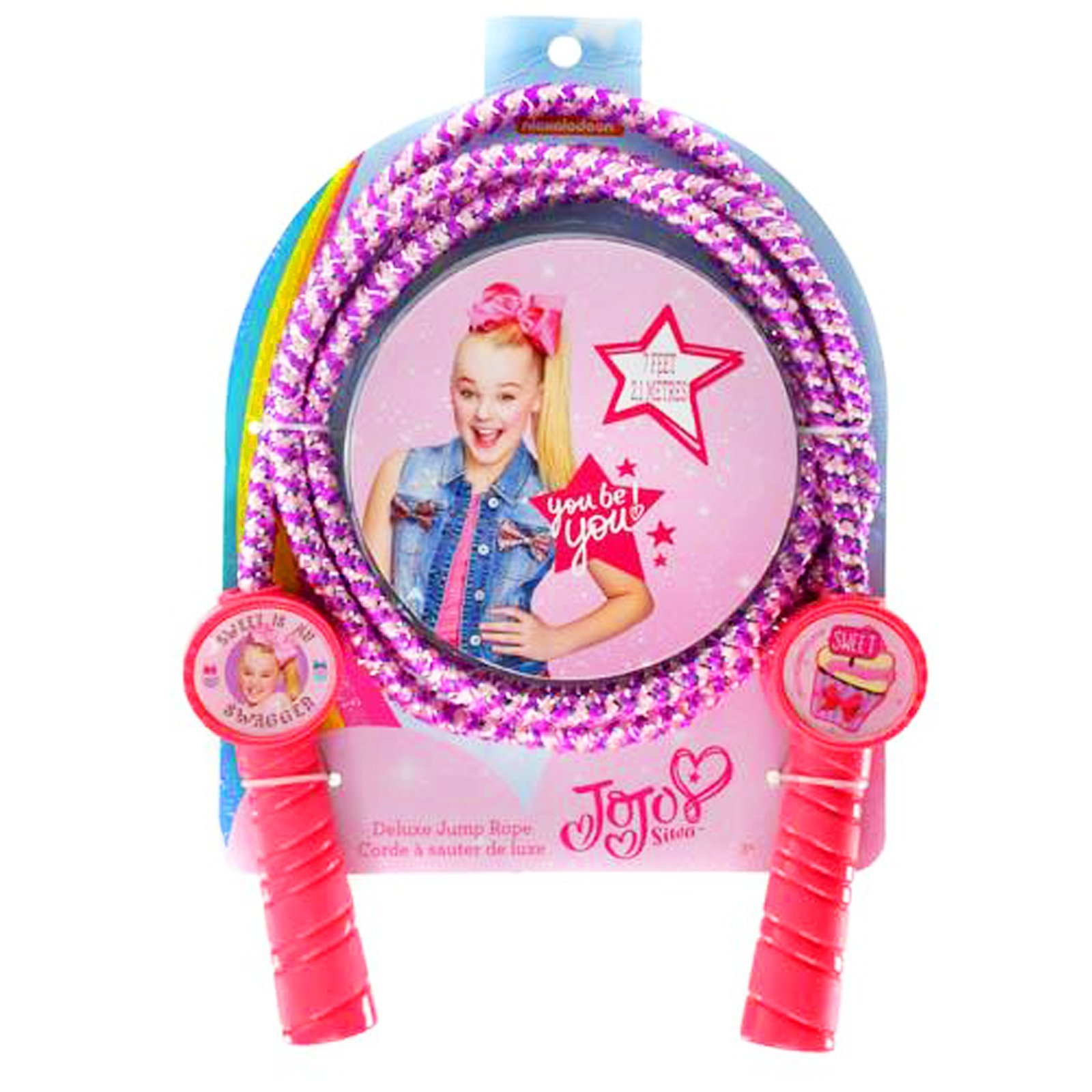 JoJo Siwa Girls Deluxe Jump Rope Molded Handles 7 Feet Promotes Exercise - Pink