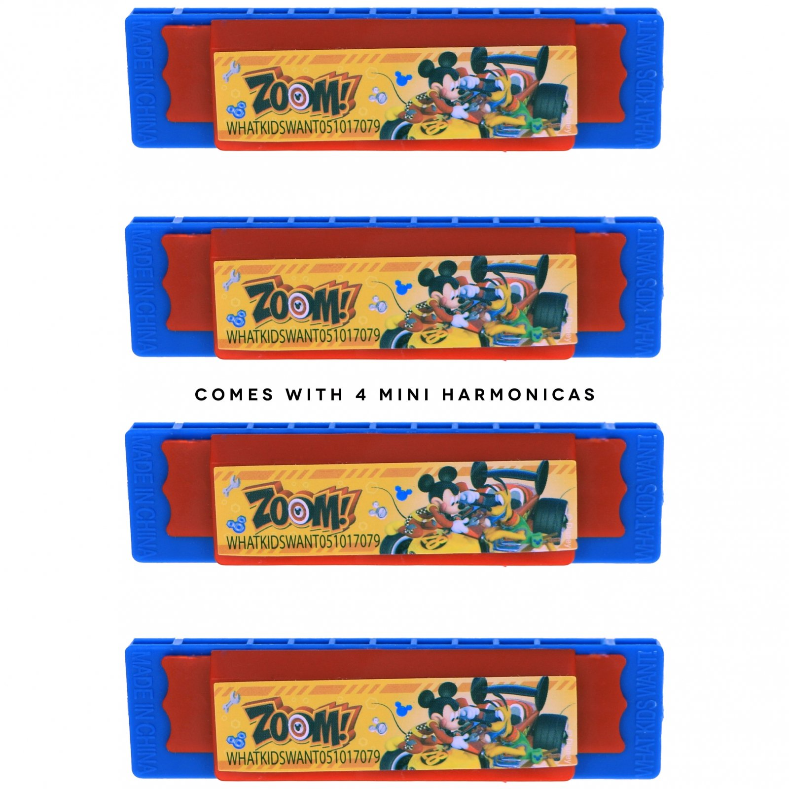 Many Characters KidPlay Mini Harmonicas Kids Musical Instrument Toys 4 Pack