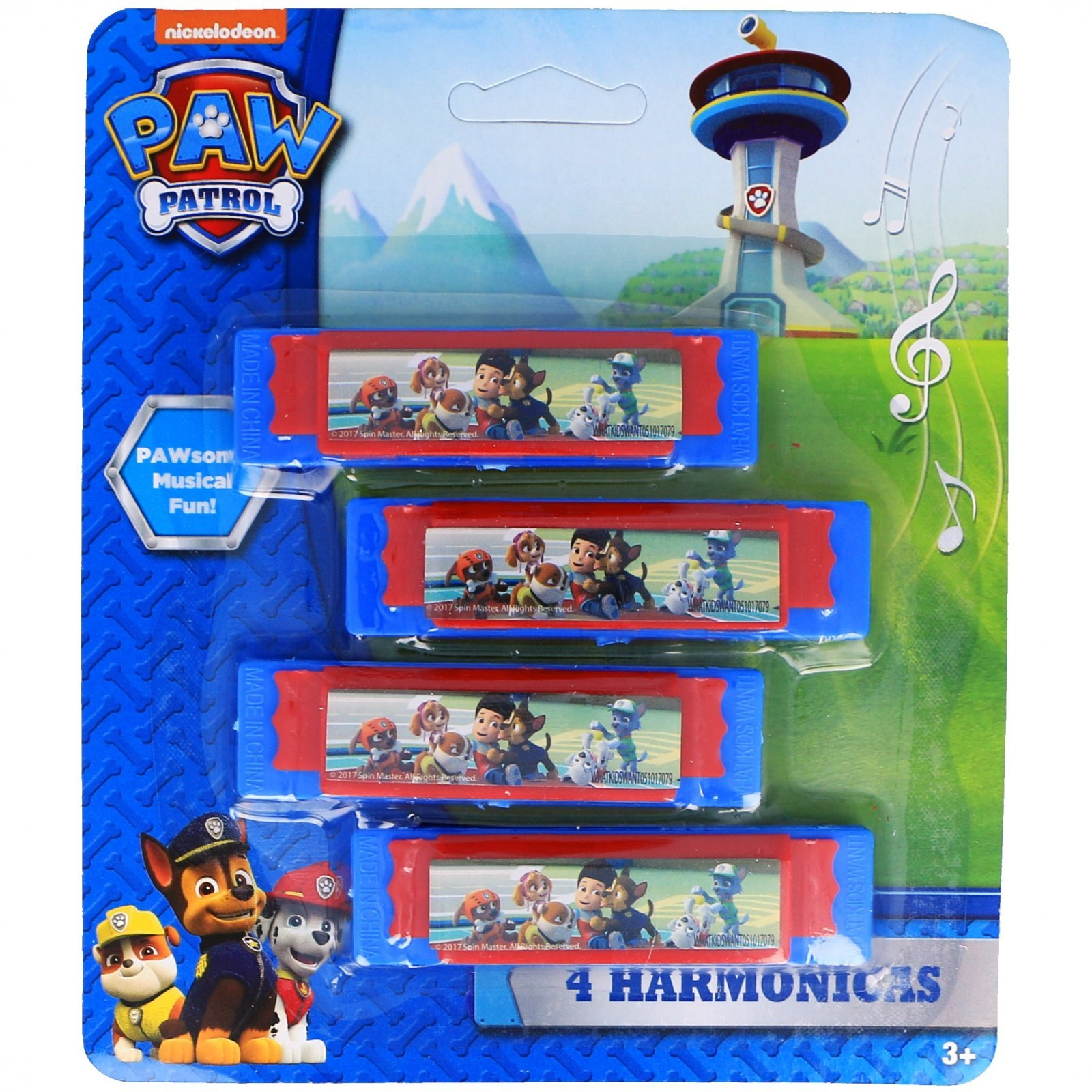 Nickelodeon Paw Patrol Boys Mini Harmonicas Kids Musical Instrument Toys - Blue