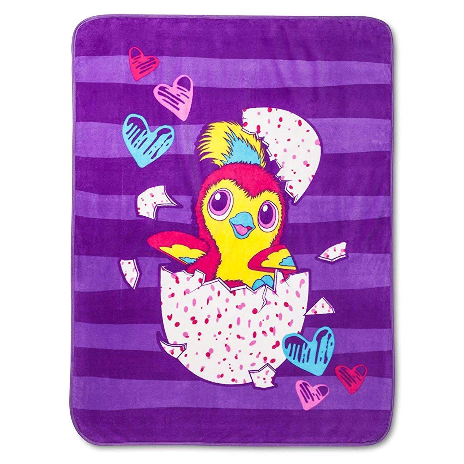 Licensed Hatchimals Kids Plush Throw Blanket 46 x 60 Inch Soft Home Decor Purple
