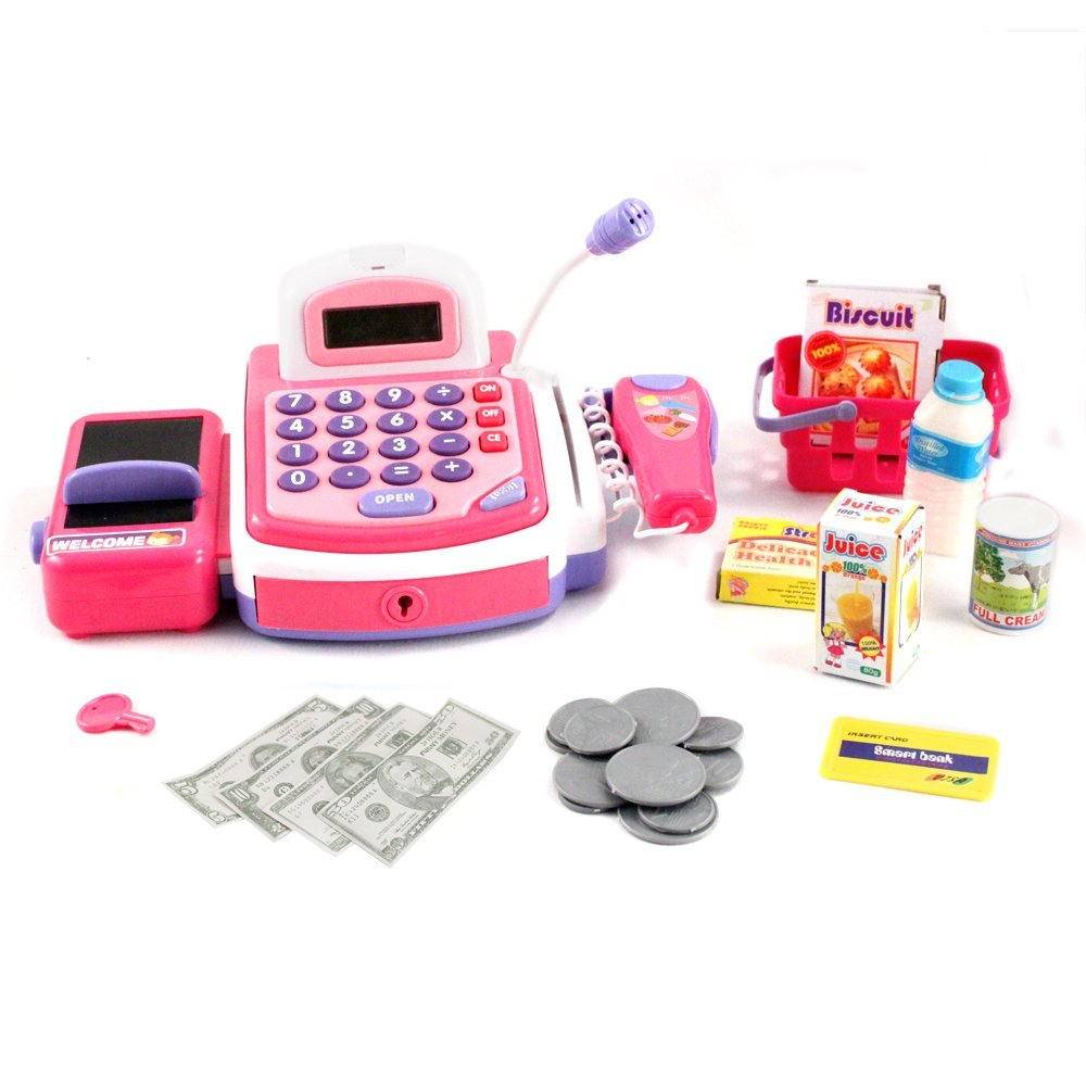 Pretend Play Electronic Cash Register Toy Realistic - Pink