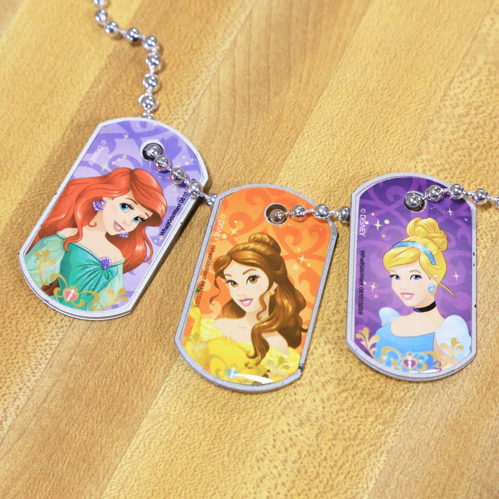 Disney Princess Girls 3pc Interchangeable Dog Tag Necklace Chain Kids Jewelry