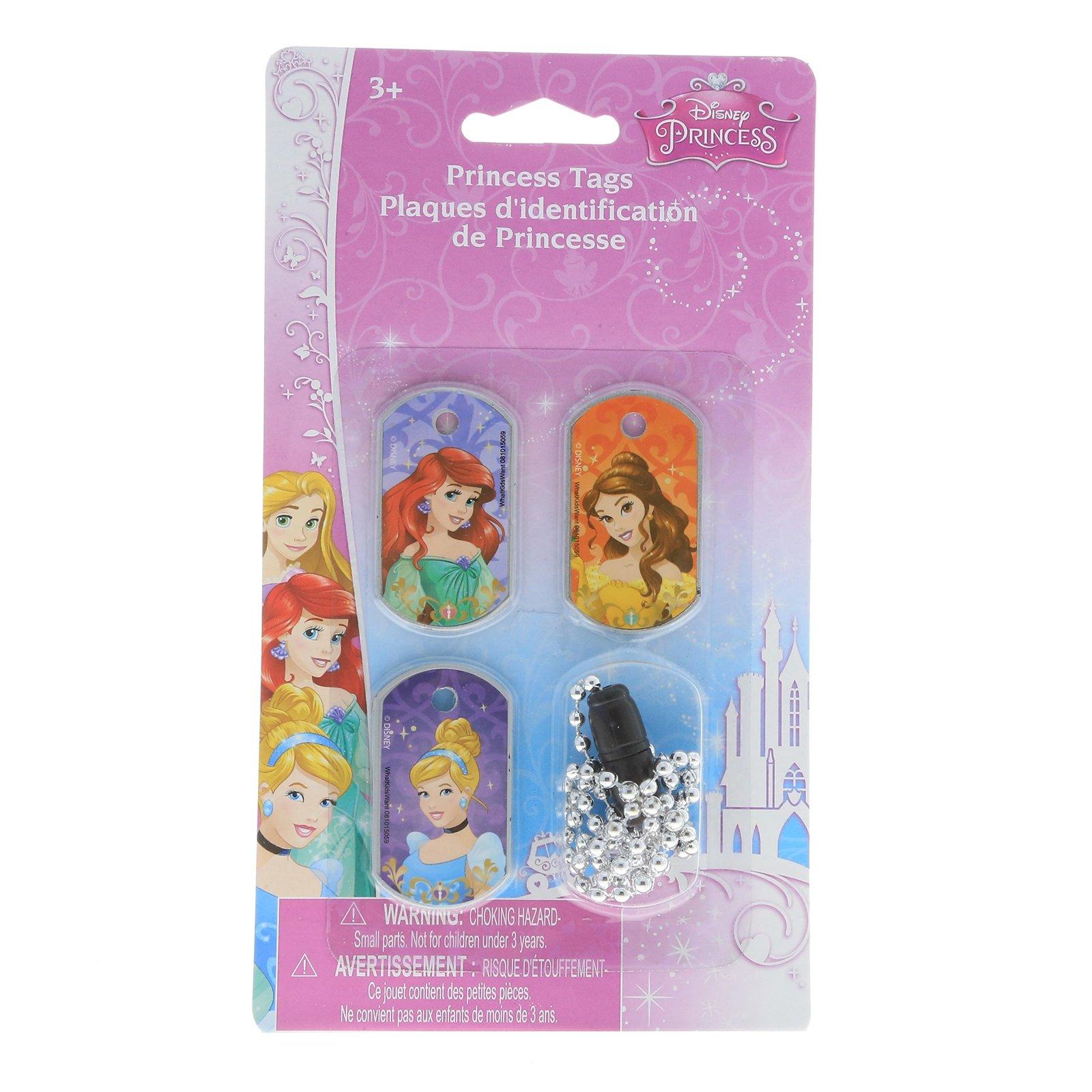 Disney Princess Girls 3pc Interchangeable Dog Tag Necklace Chain Kids Jewelry