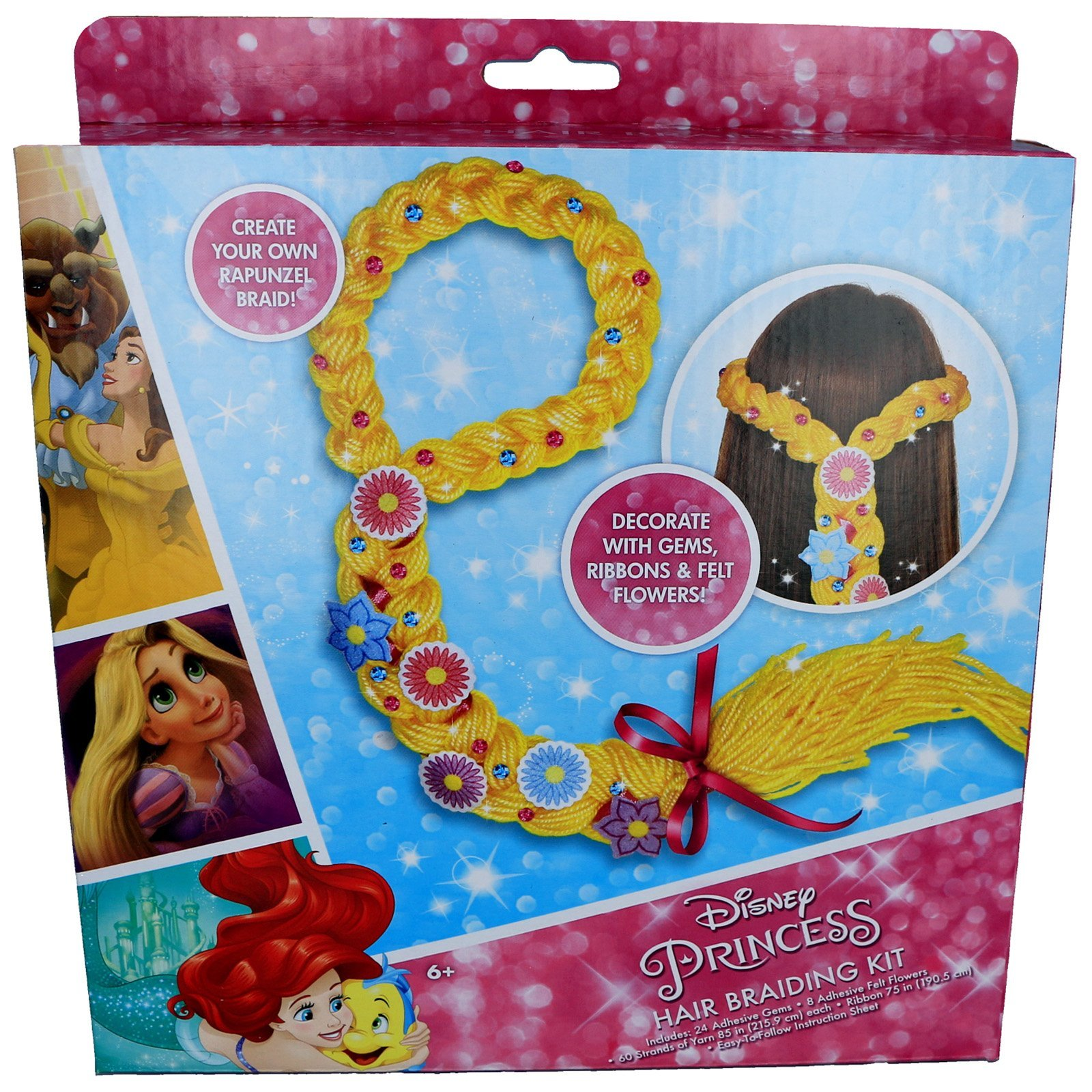 Disney Princess Girls DIY Hair Braiding Kit with Decorative Gems Ribbons Flowers