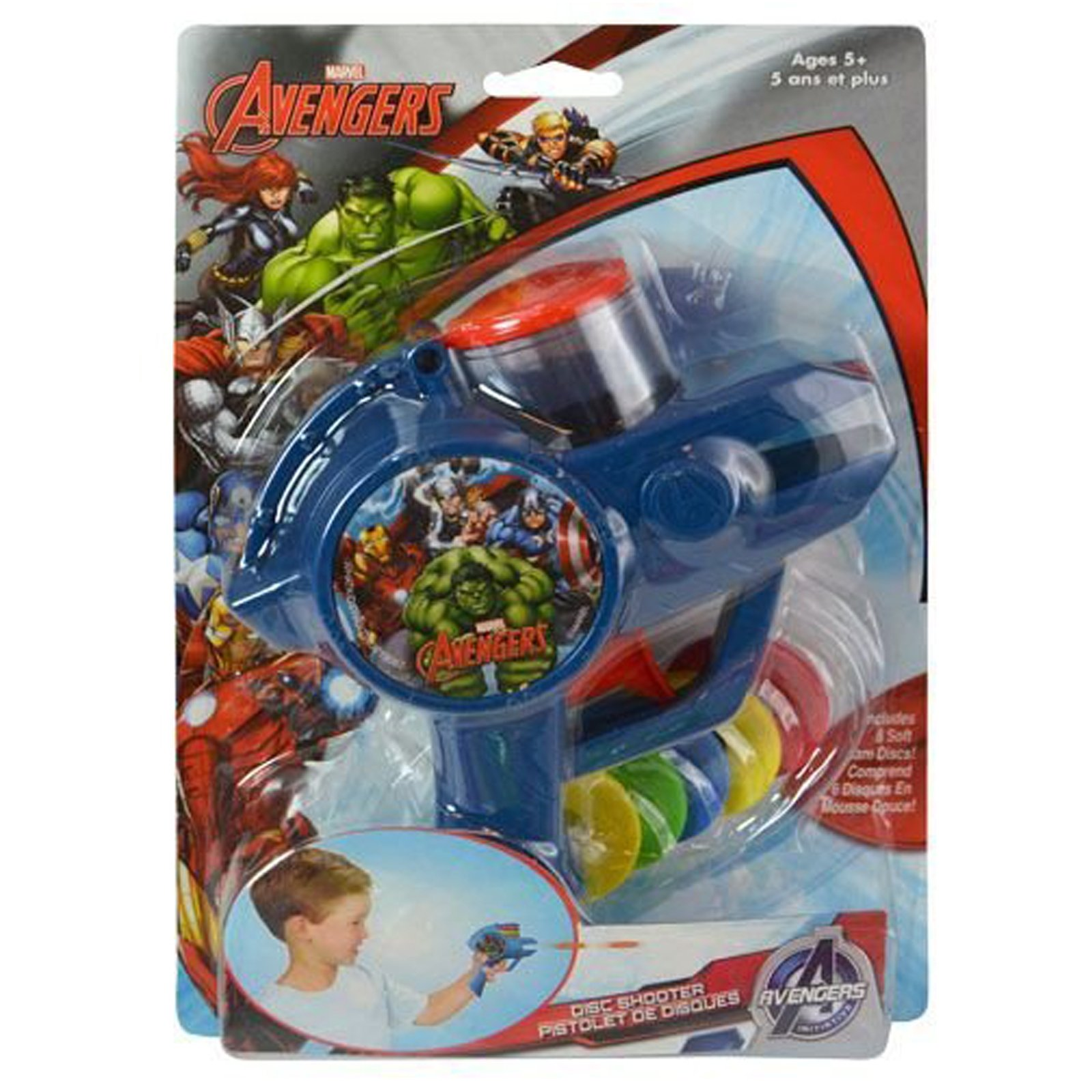 6pc Marvel Avengers Soft Foam Disc Shooter Blue Blaster