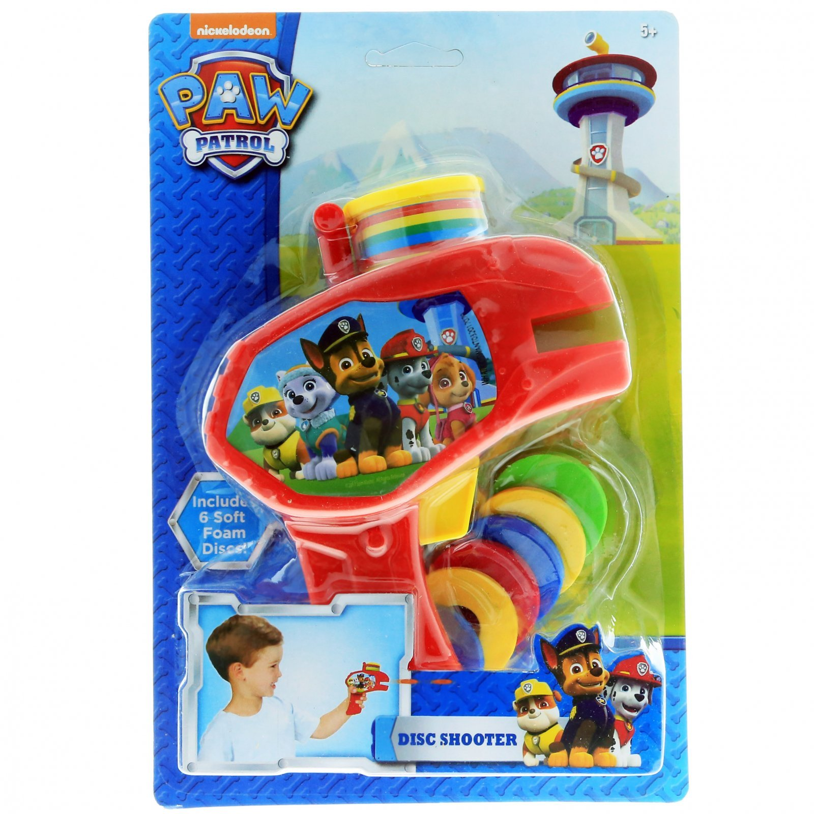 6pc Nickelodeon Paw Patrol Soft Foam Disc Shooter Red Blaster