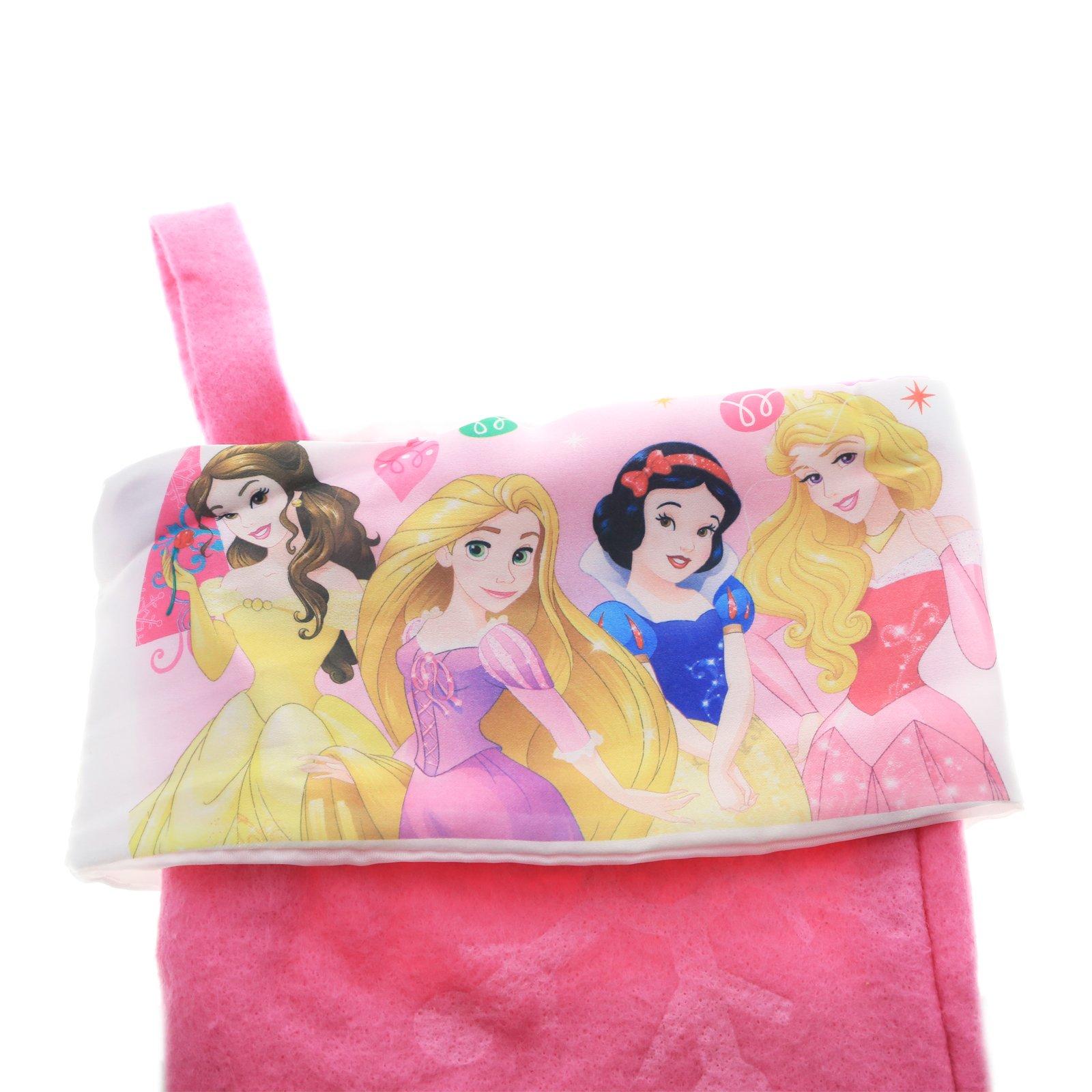 Disney Princess Girls 18in Christmas Stocking with Printed Satin Cuff - Pink