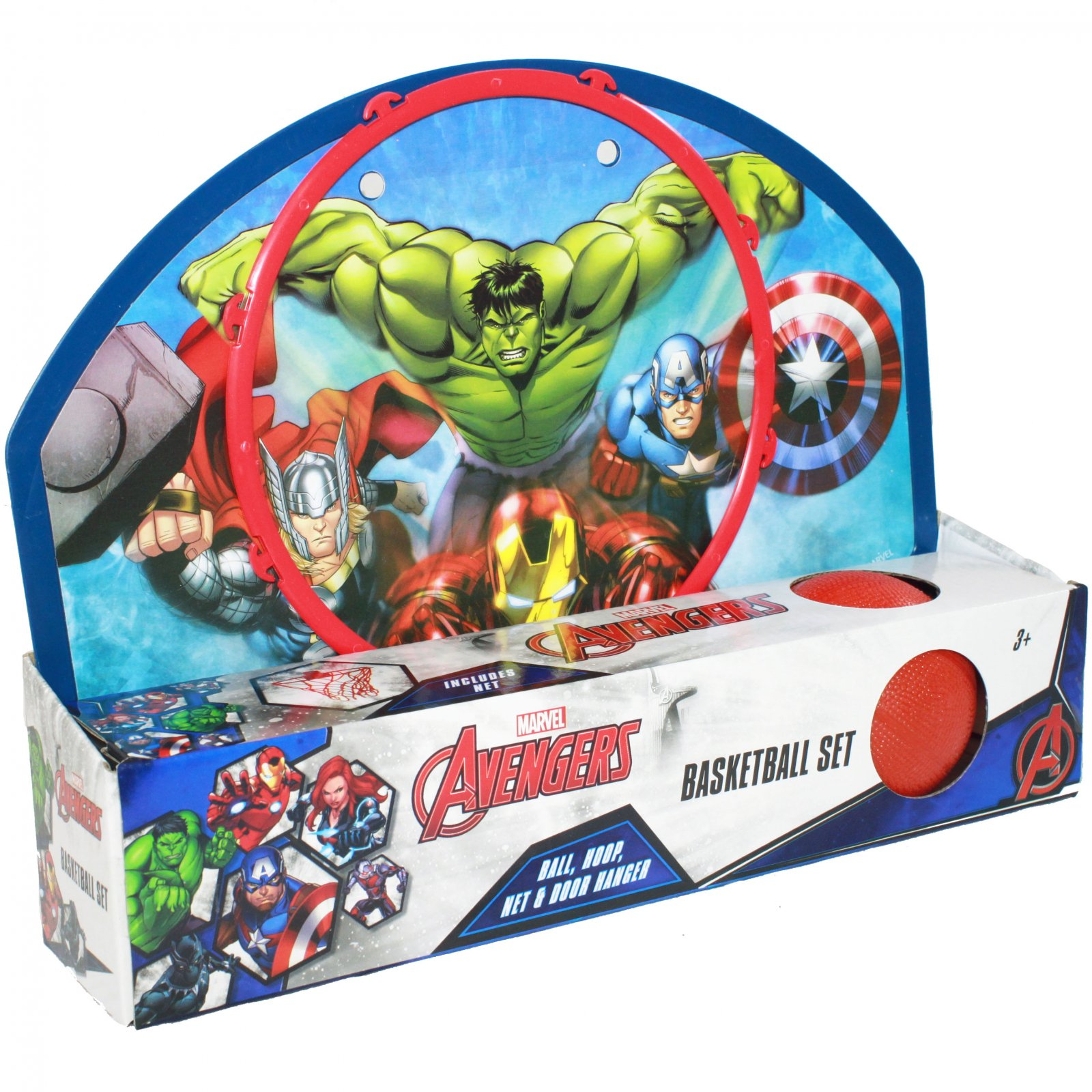 "Kids Basketball Set ""Ball, Hoop, Net & Door Hanger"" Avengers"