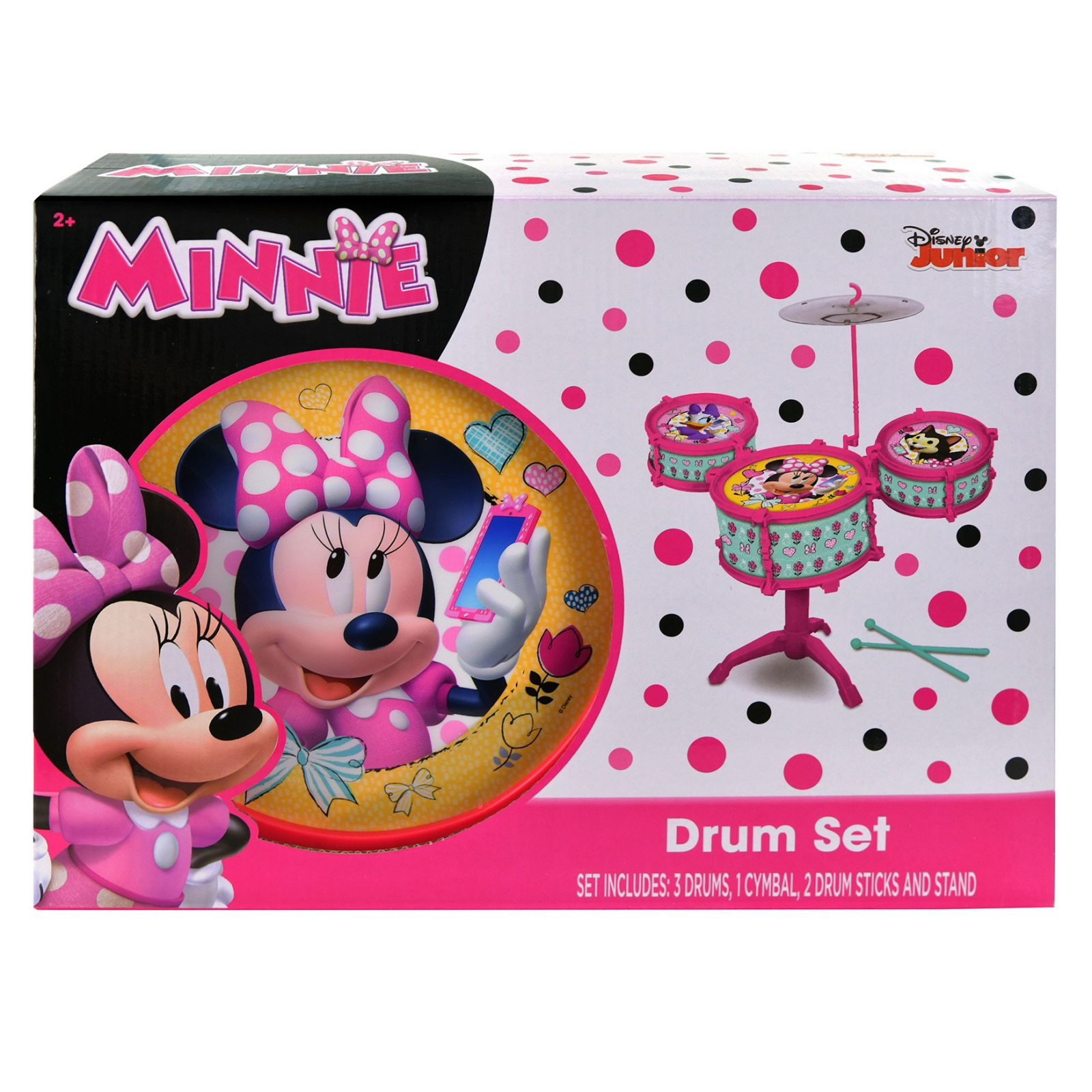 Minnie Mouse Childrens Music Drum Set With Sticks And Stand