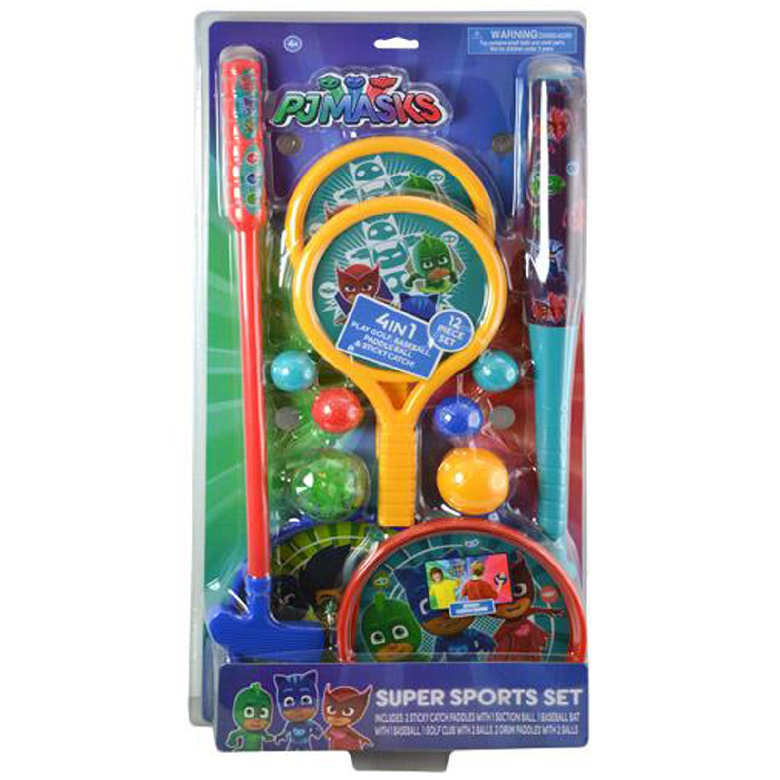 PJ Masks Kids 4 in 1 Super Sports Toys Set Golf Baseball Catch Paddle Ball