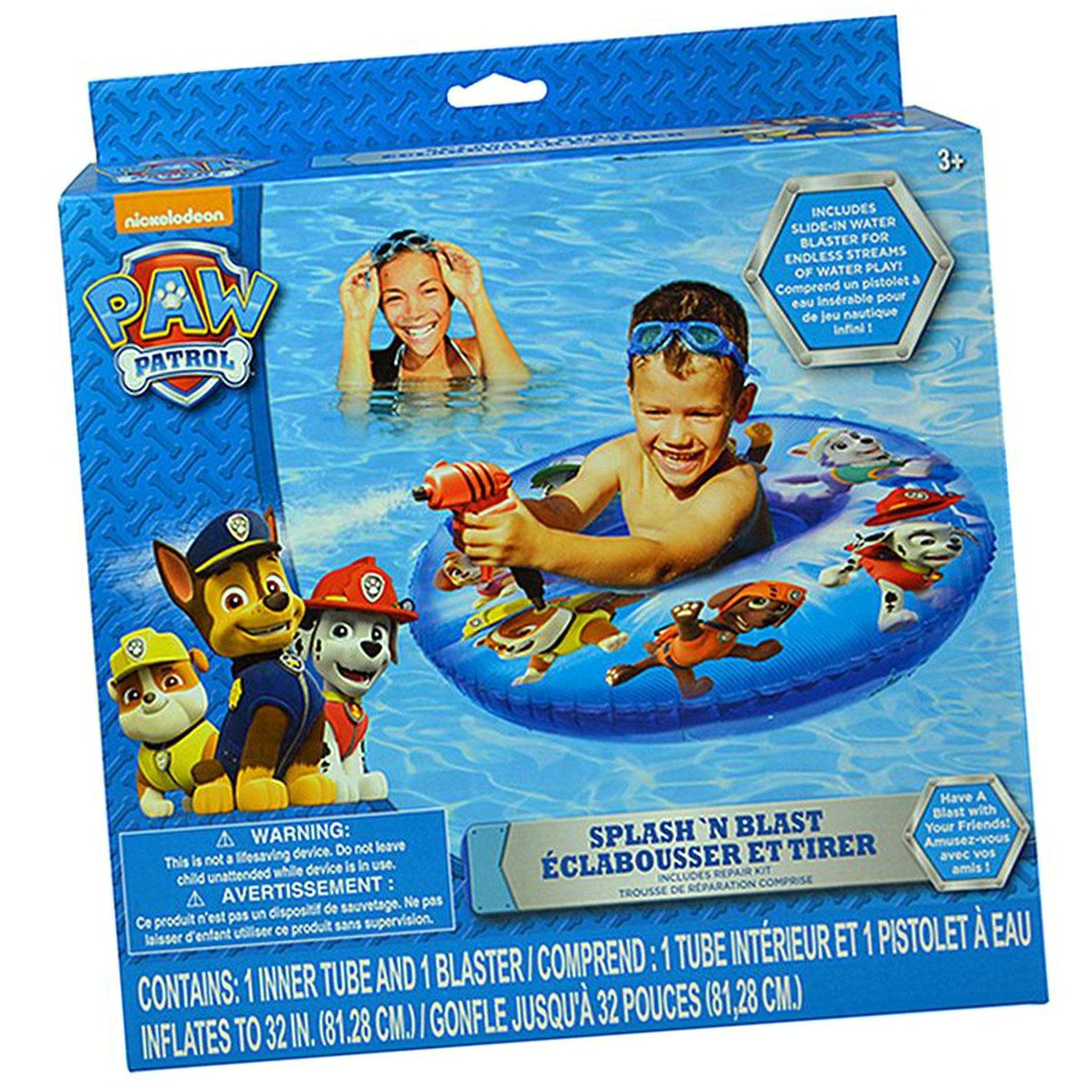 Paw Patrol Splash Blast Swim Ring Squirt Gun Water Cannon