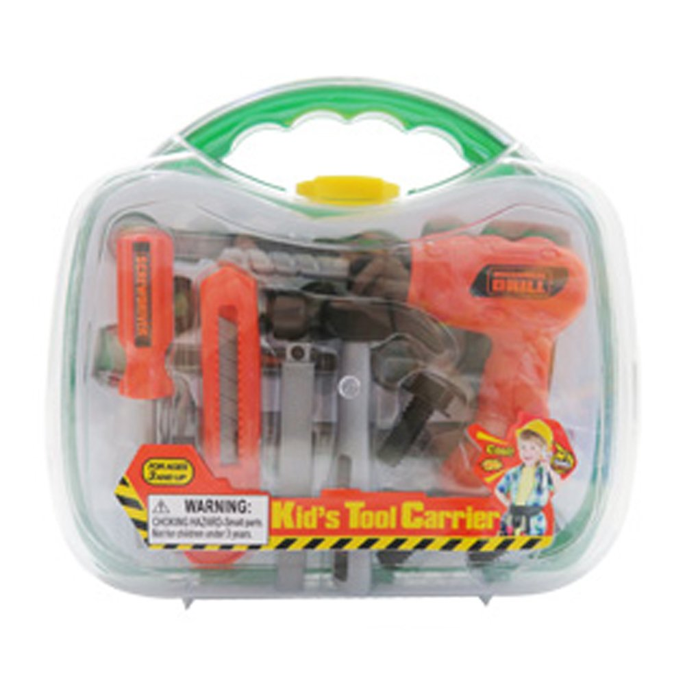 KidPlay Boys Tool Carrier Set Pretend Play Just Like Dad Toolbox - Green