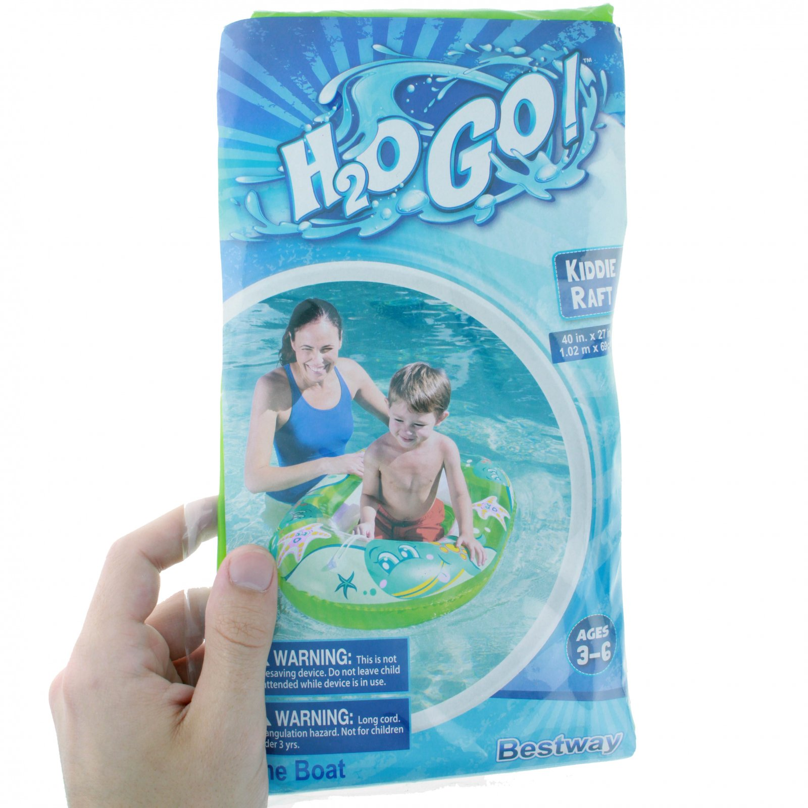 """Inflatable Kiddie Raft Pool Float for Children - 40"""" x 27"""" - Green"""