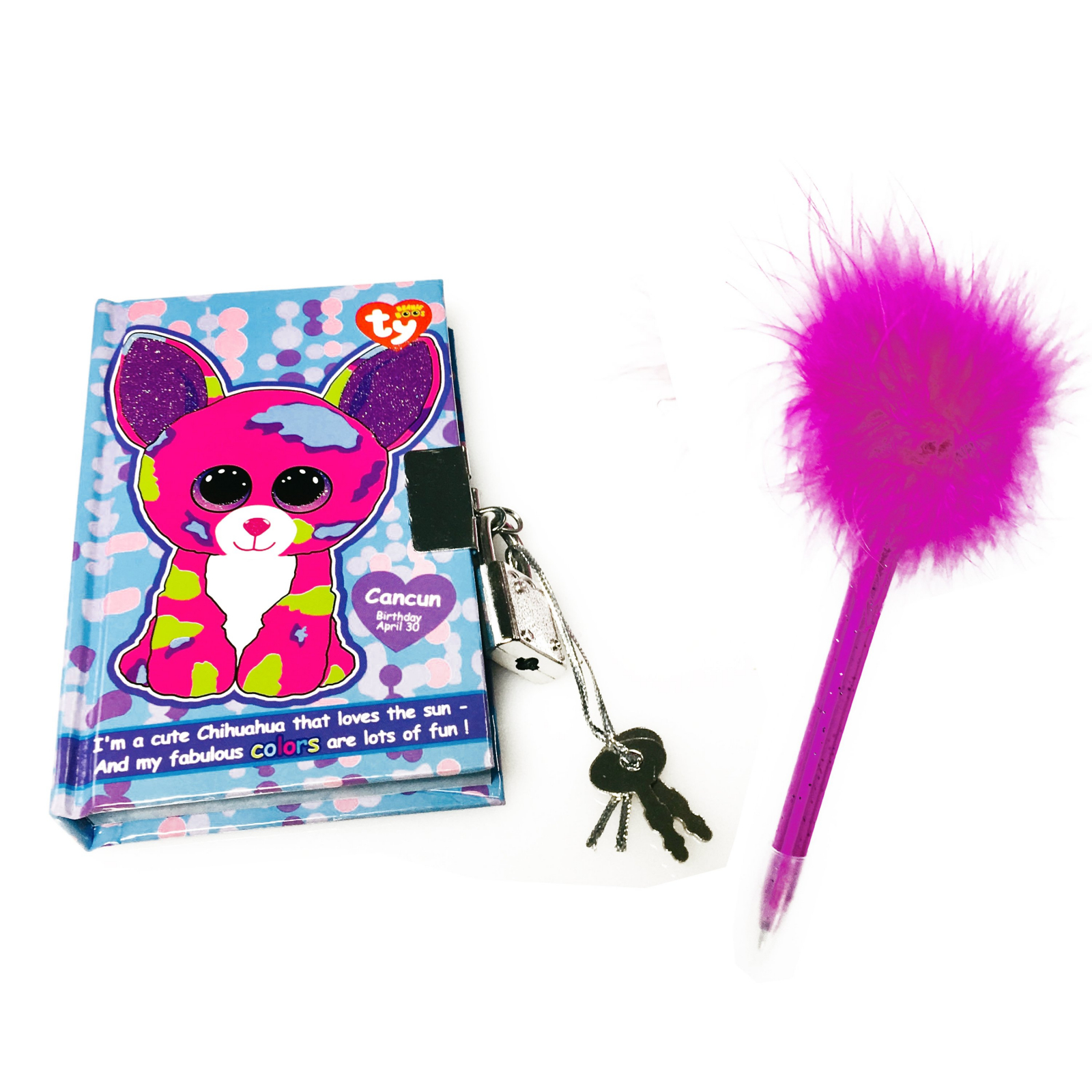 TY Beanie Boos Pocket Mini Diary with Fluffy Pen Cancun Chihuahua