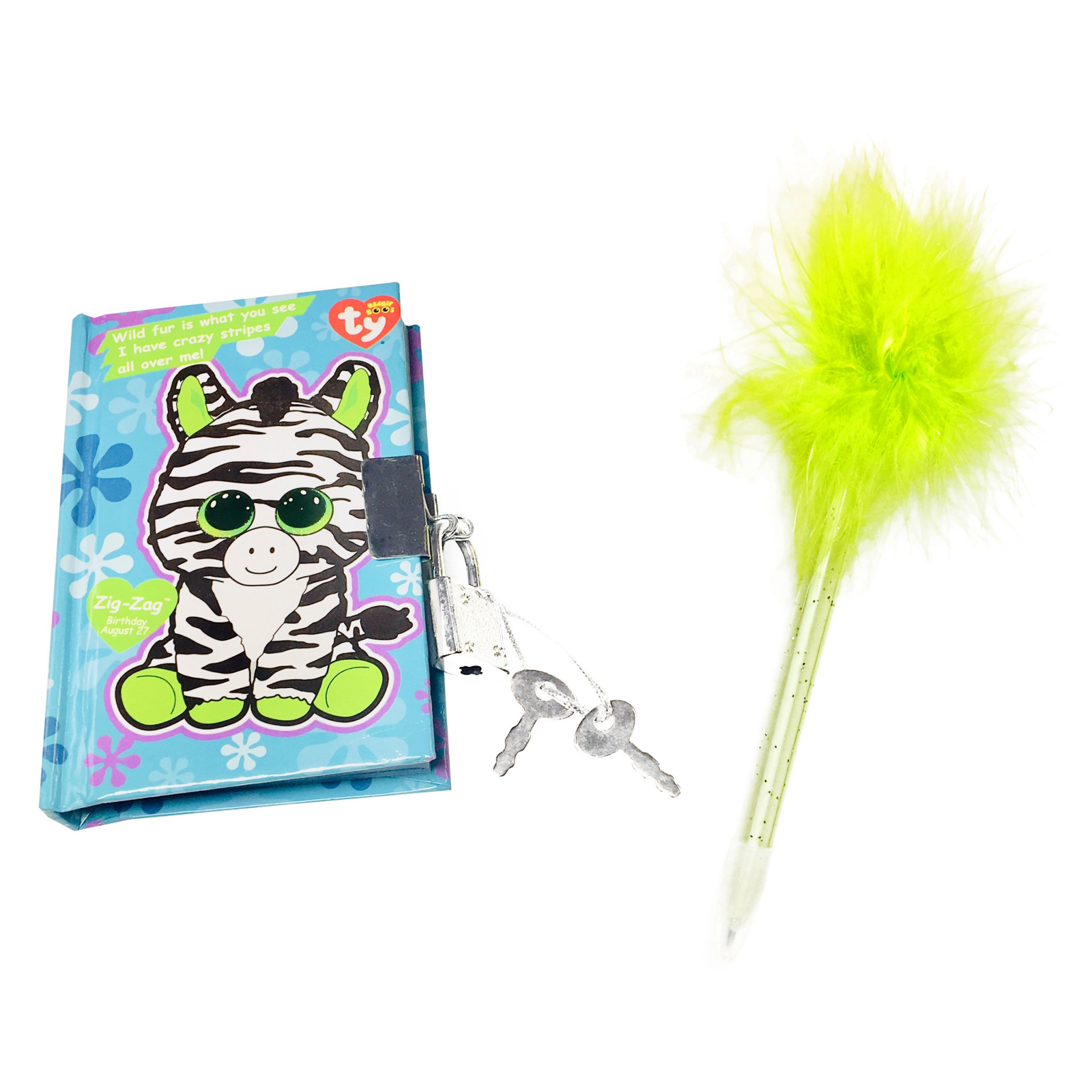 TY Beanie Boos Pocket Mini Diary with Fluffy Pen Zig-Zag the Zebra