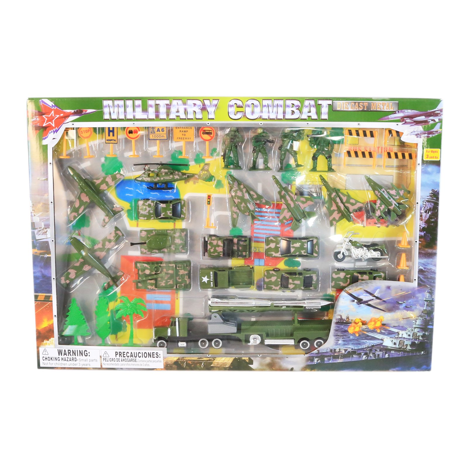 Deluxe 50pc Military Forces Command Micro Wheels Kids Diecast Toy Car Play Set