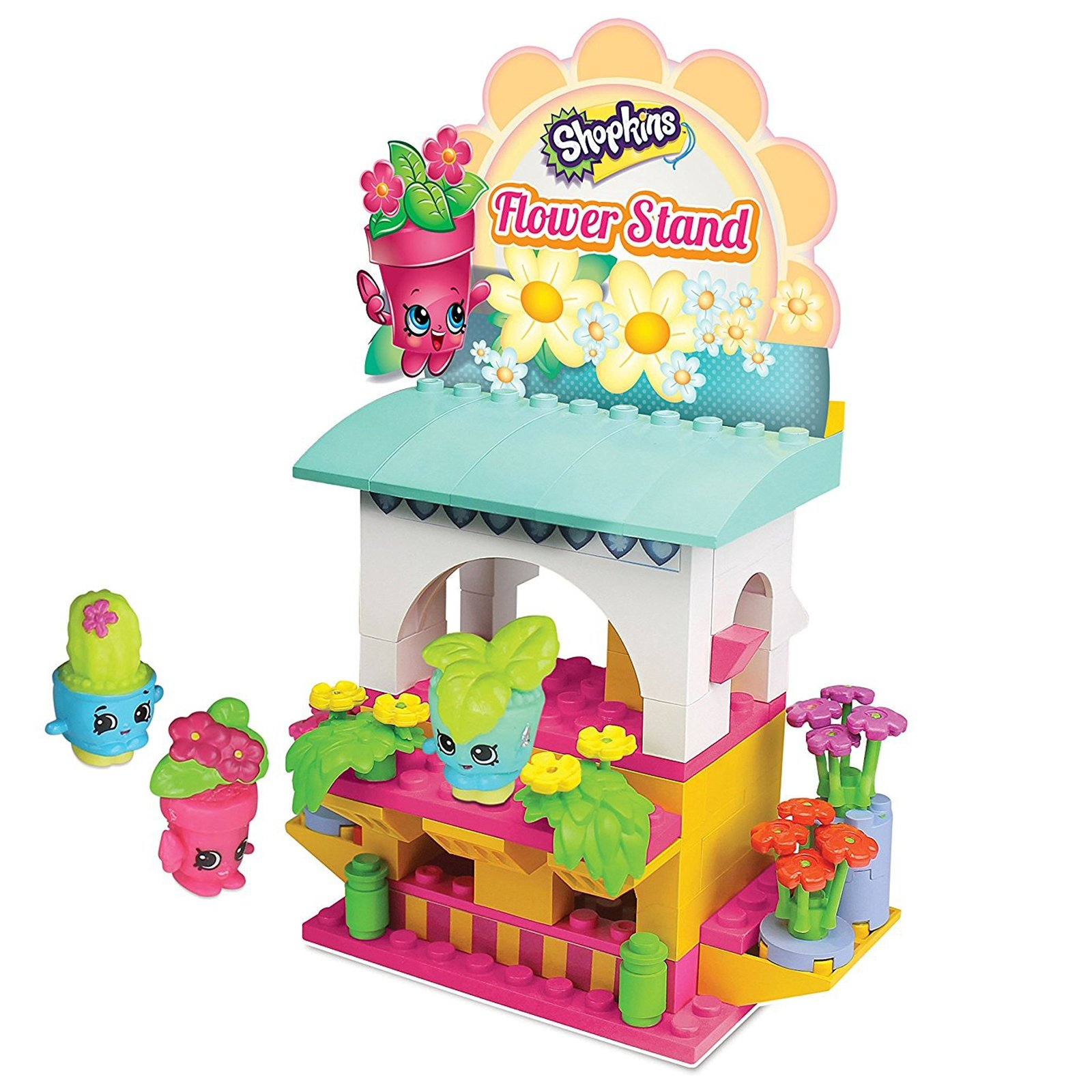 101pc Shopkins Kinstructions Flower Stand Pretend Play Toy Set 3 Buildable Figures