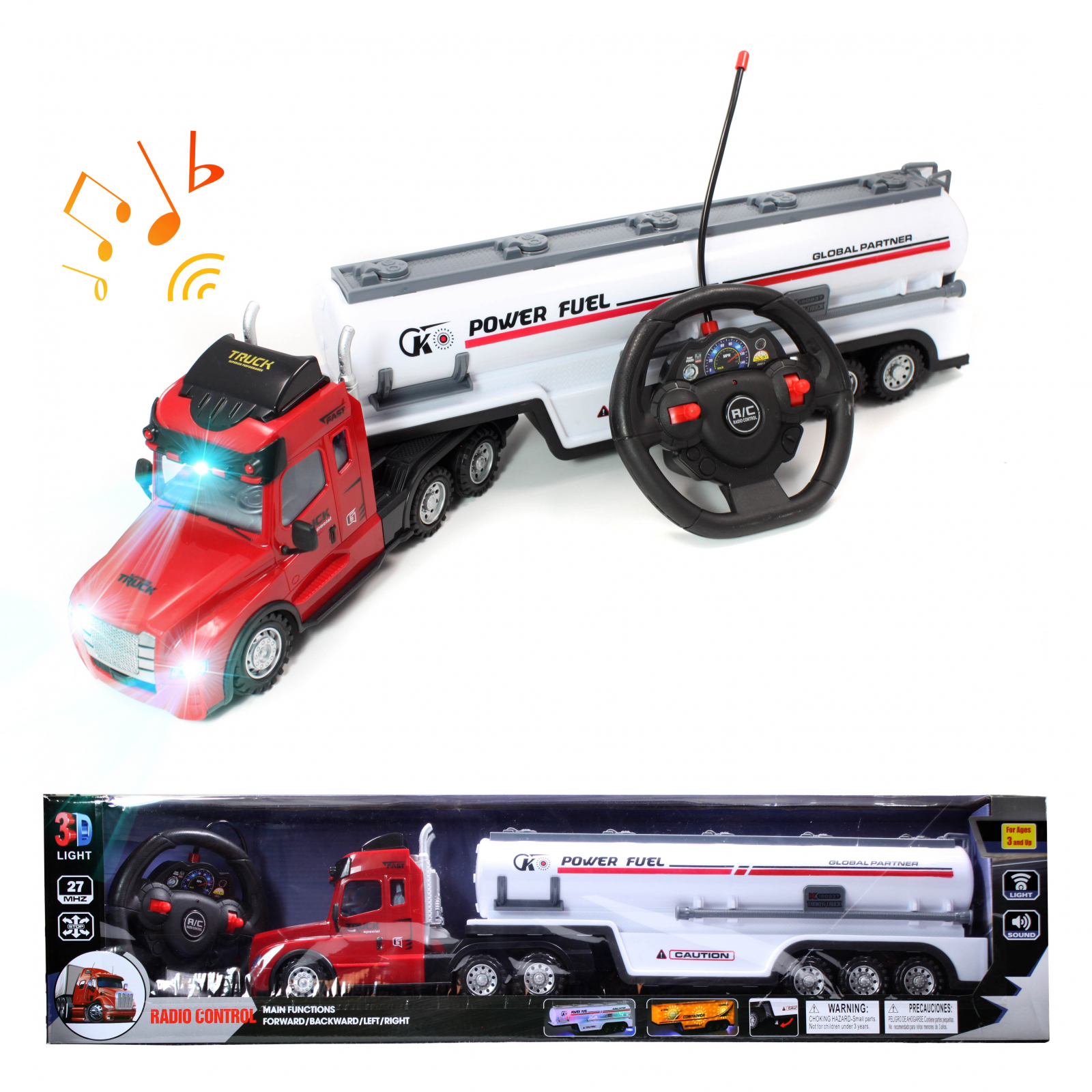 Kidplokio Remote Control Car RC Truck Semi Carrier - White