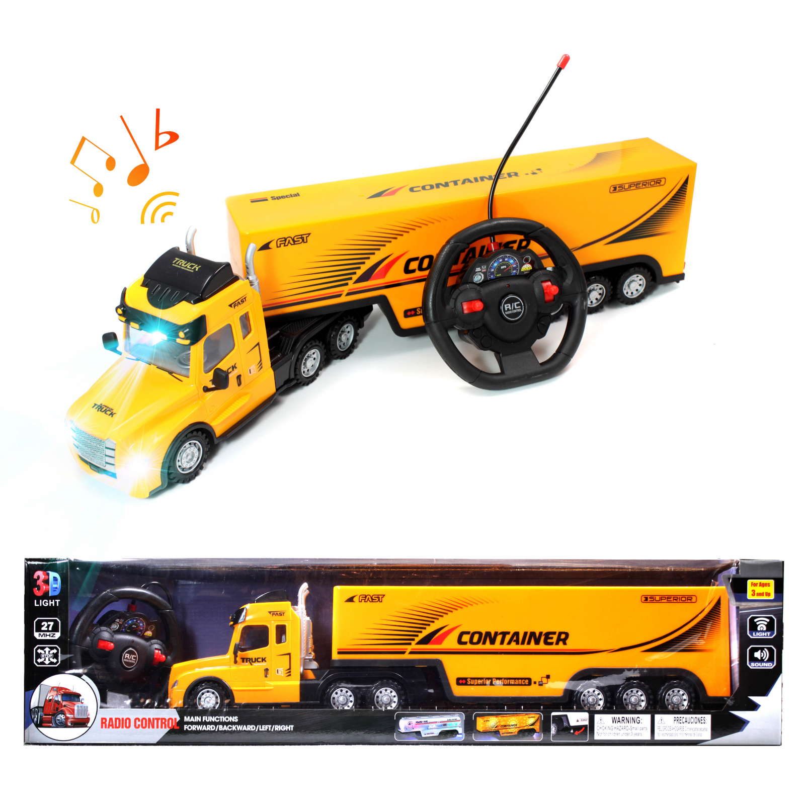 Kidplokio Remote Control Car RC Truck Semi Carrier - Yellow