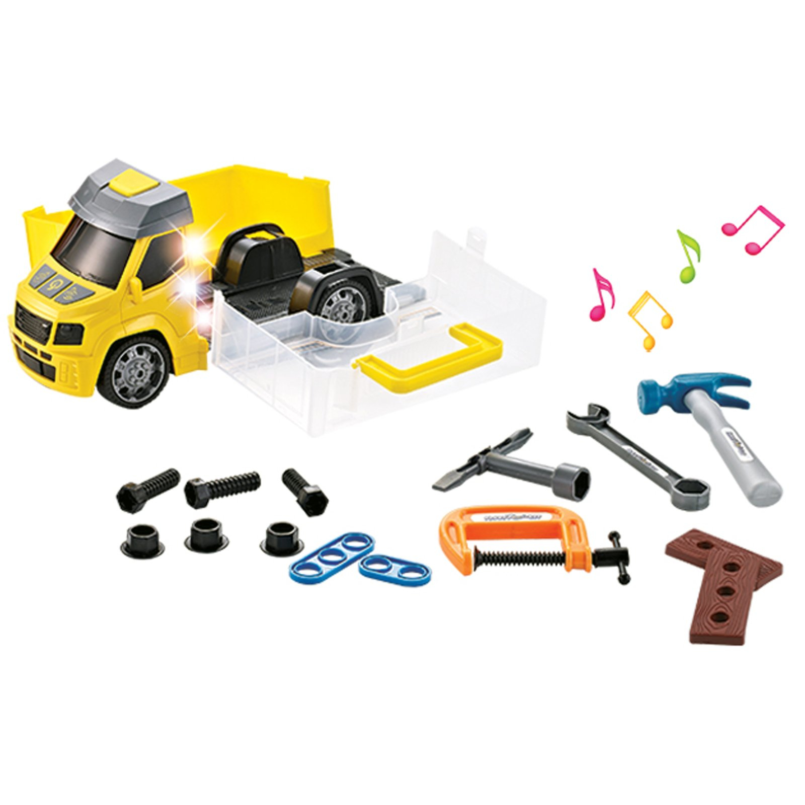 Construction and Rescue Tools Truck with Light Sound Yellow