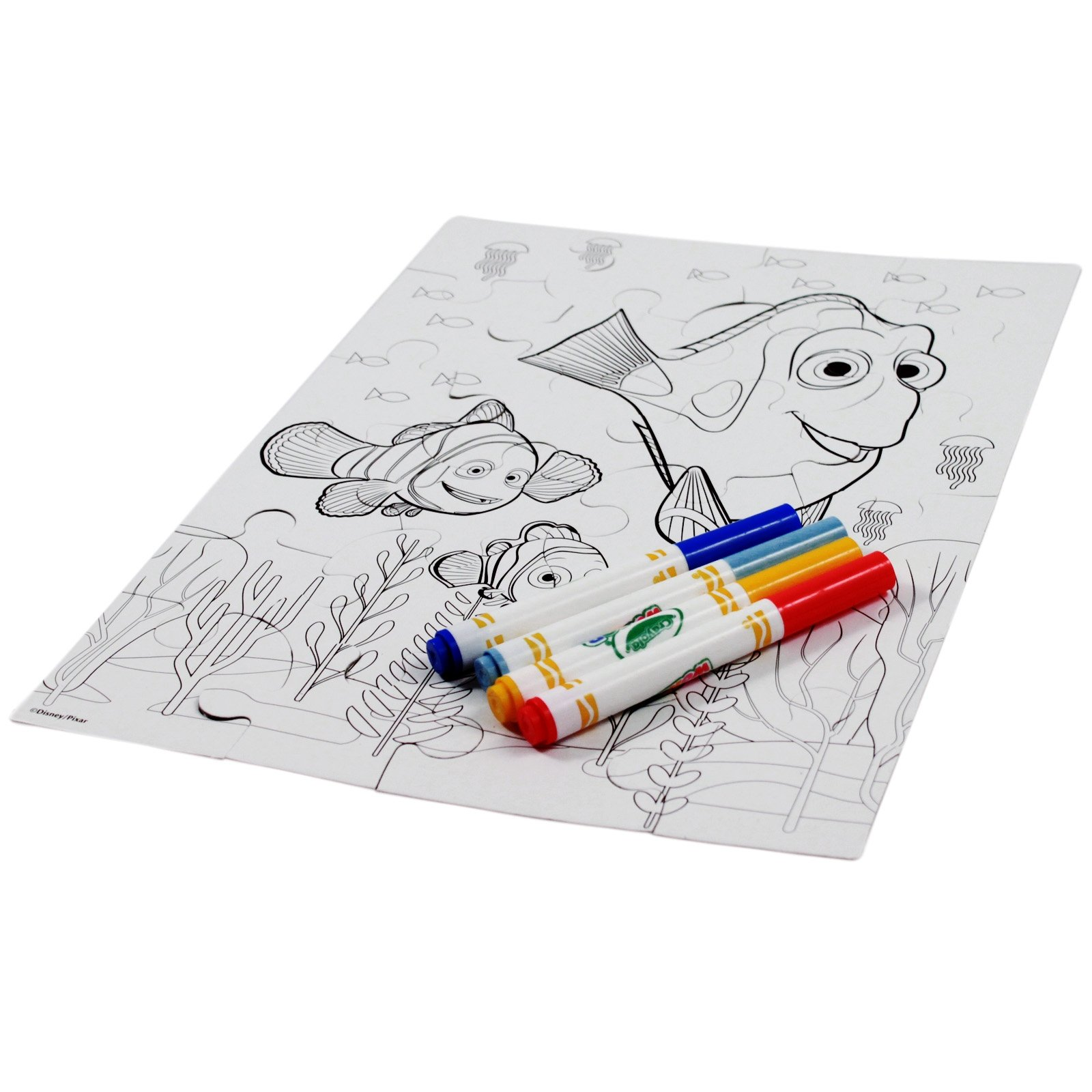 28pc Disney Finding Dory Color Your Own Jigsaw Puzzle Crayola Mess Free Markers