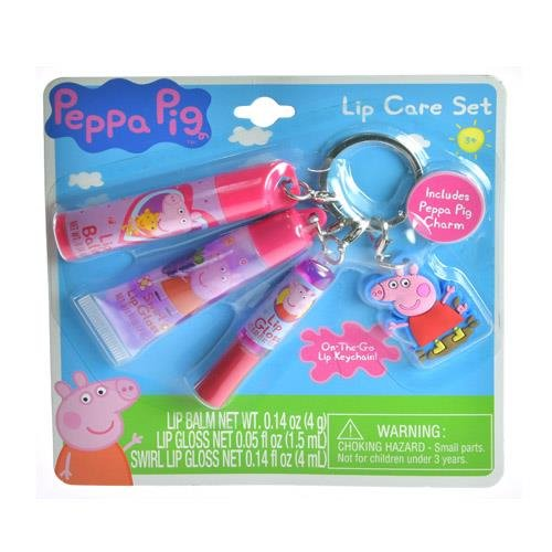 Peppa Pig Lip Gloss Care Cosmetic Set On The Go Key Chain