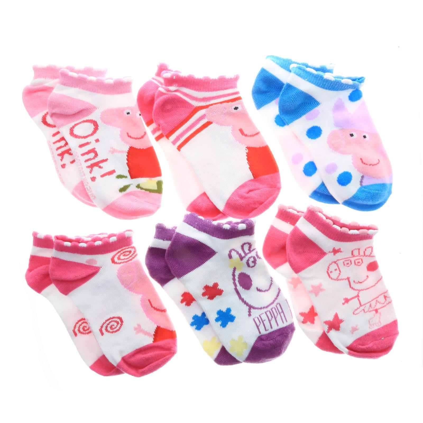 Peppa Pig Girl Crew Fit 6 Pack Toddler Sock Set