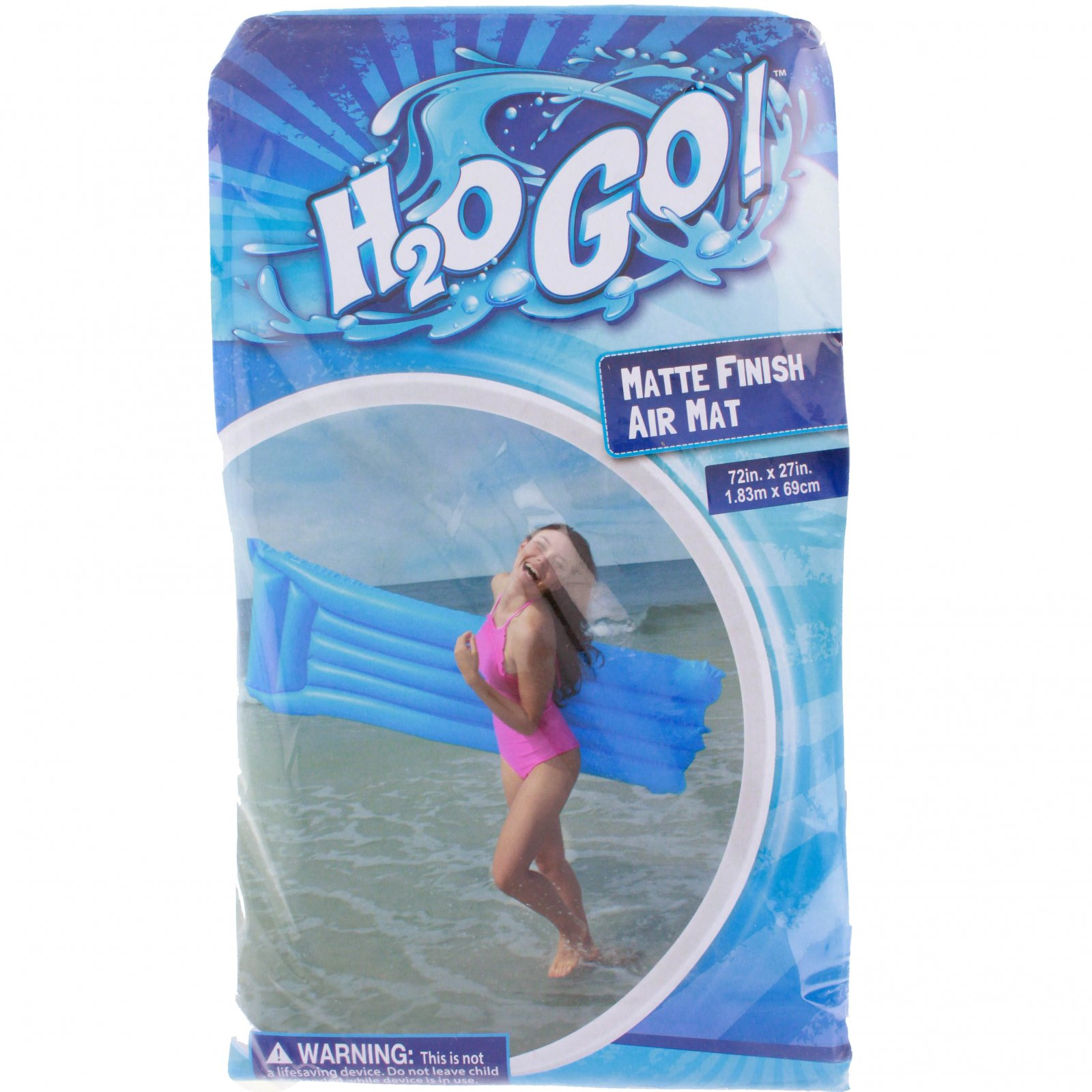 H2OGO! Matte Finish Air Mat Inflatable Pool Float - Blue