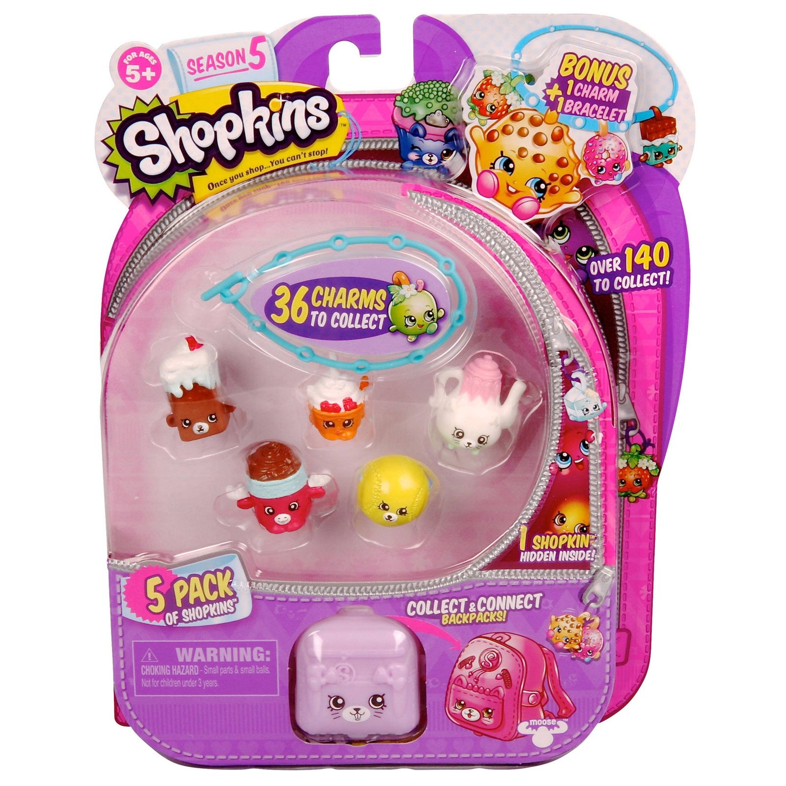 5 Pack of Collectible Shopkins Charm Bracelet and Figures