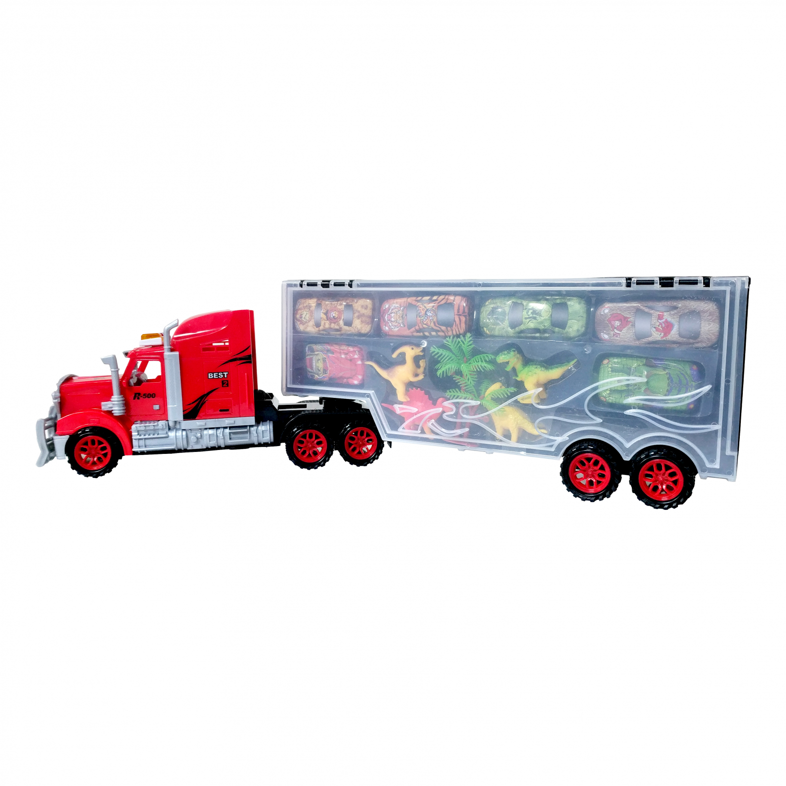 Friction Powered Mobile Garage Dinosaur Car Transport Truck