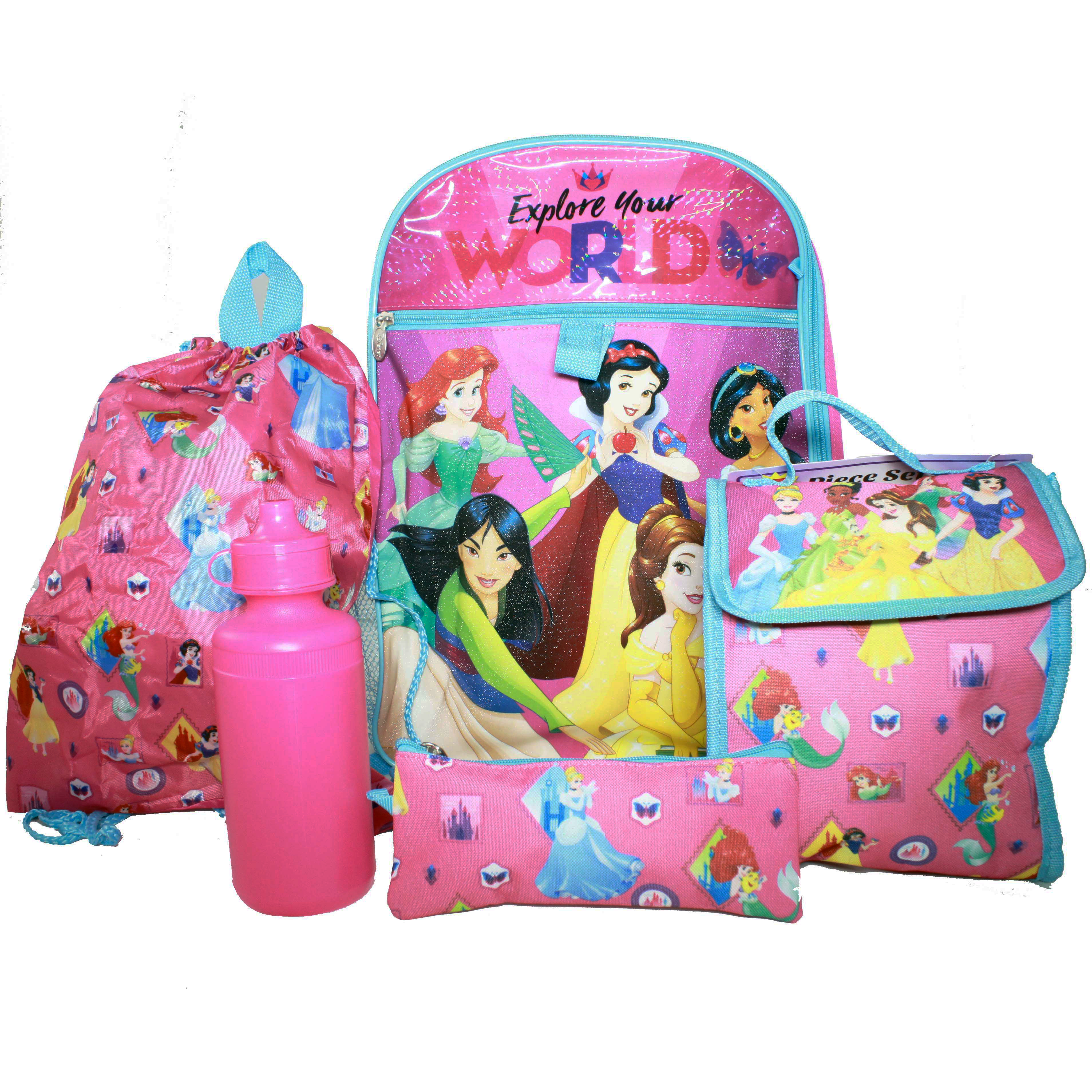 Disney Princess Girls Backpack Set with Lunch Bag Pencil Case Cinch Sack Bottle