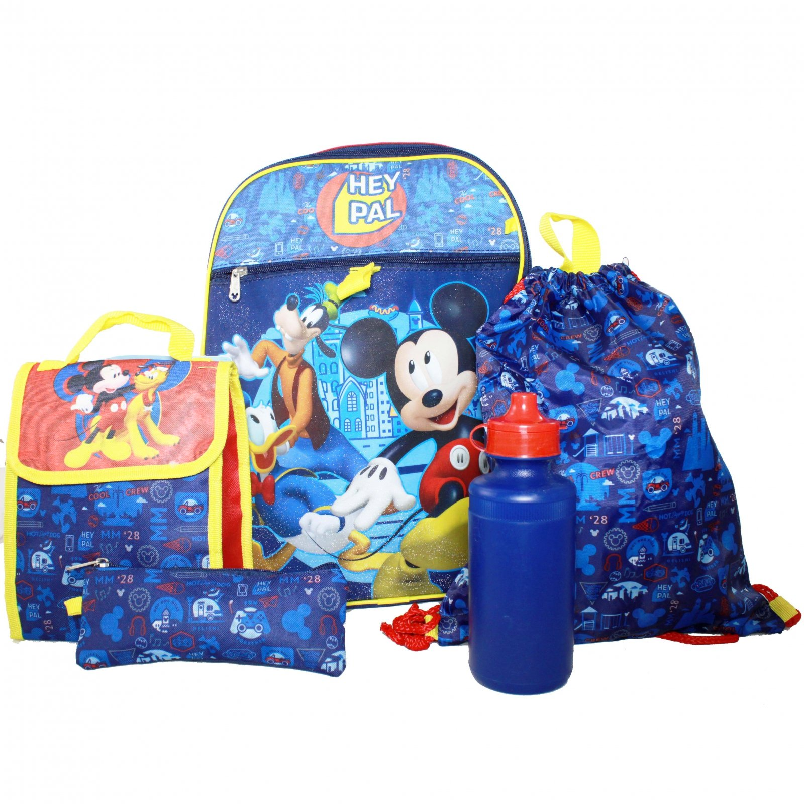 Disney Mickey Mouse Boys Backpack Set Lunch Bag Pencil Case Cinch Sack Bottle