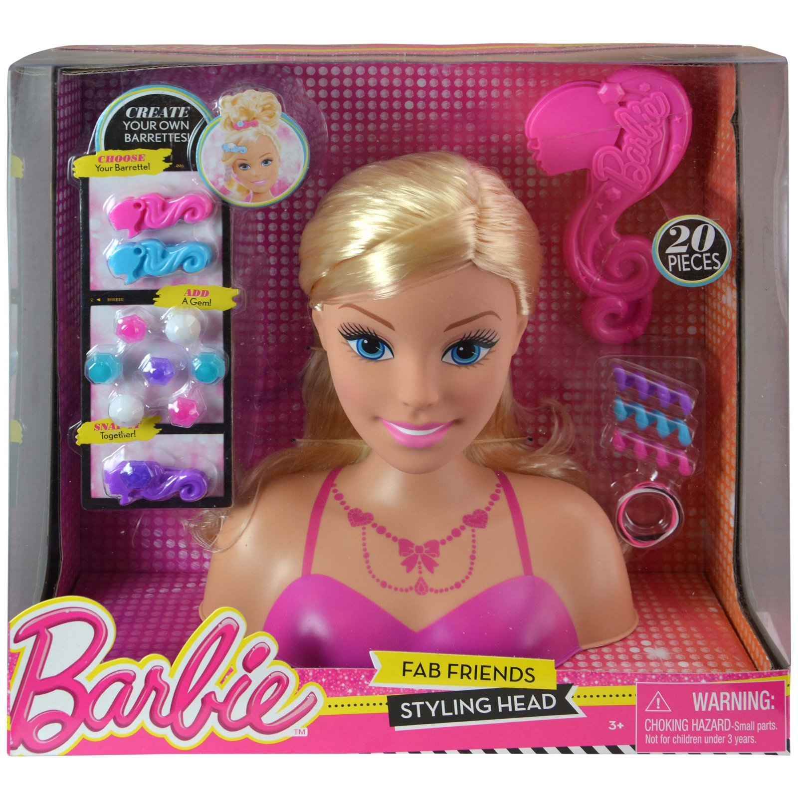 Mattel Barbie Styling Hair Doll Head Girls Pretend Play Dress Up with Accessories 20 pieces